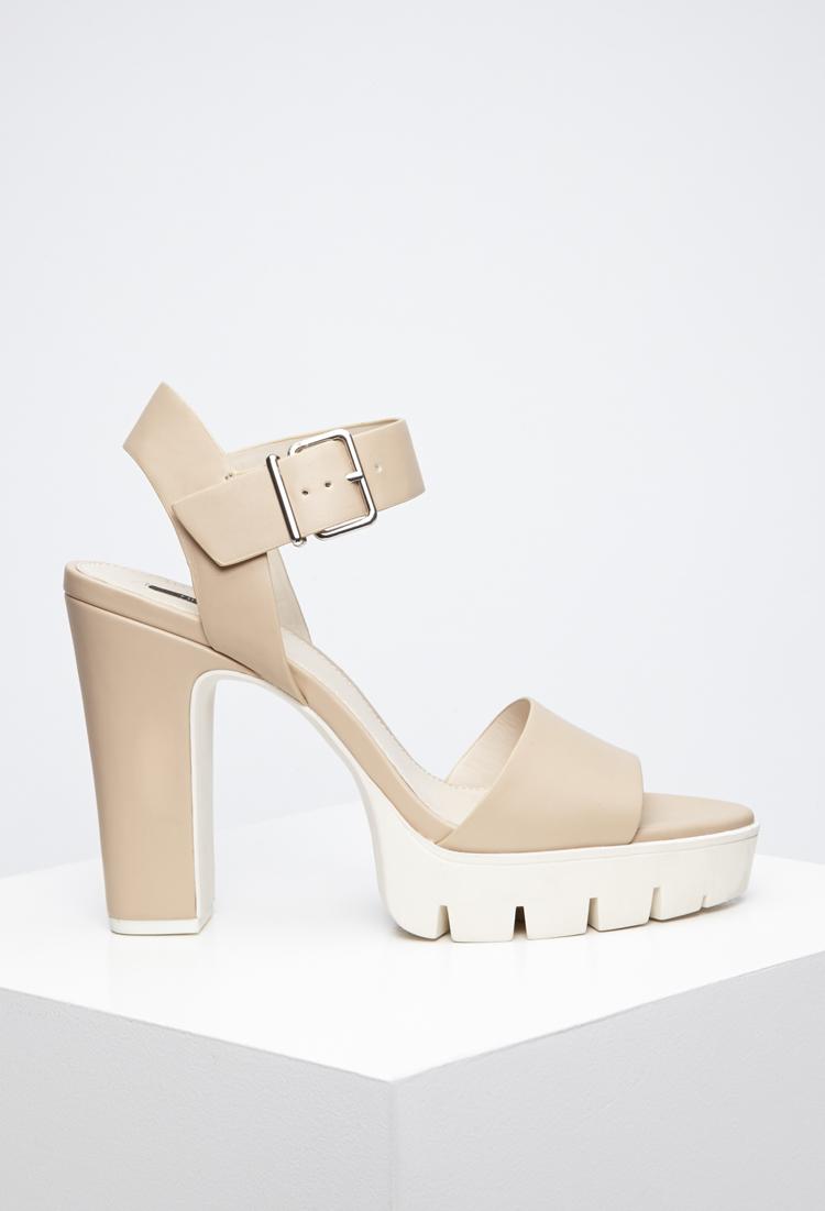 d41b7d23128 Lyst - Forever 21 Lug Sole Platform Sandals in Natural