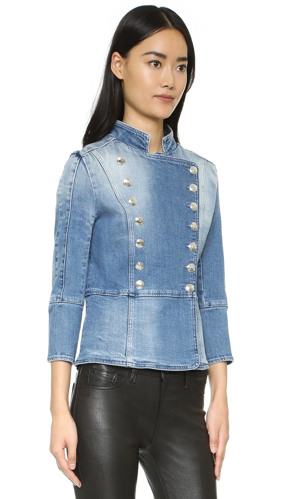 2164b99f8ca Balmain Double Breasted Denim Jacket in Blue - Lyst