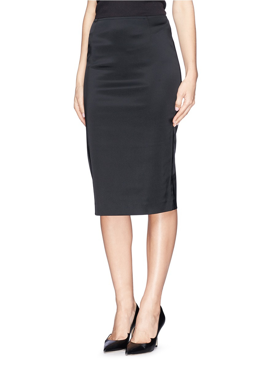 Lyst St John Structured Satin Pencil Skirt In Black
