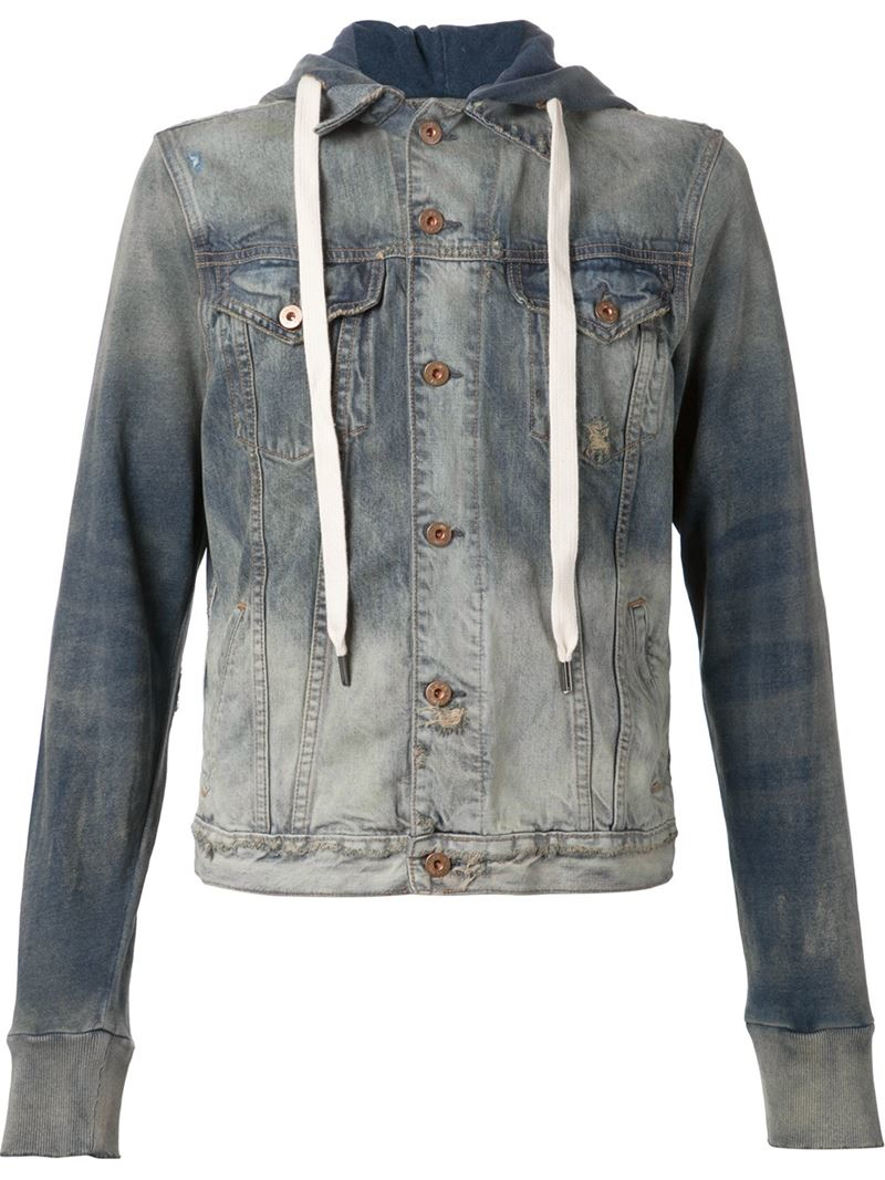 Bliss And Mischief U0026#39;Edgaru0026#39; Hooded Denim Jacket In Blue For Men | Lyst