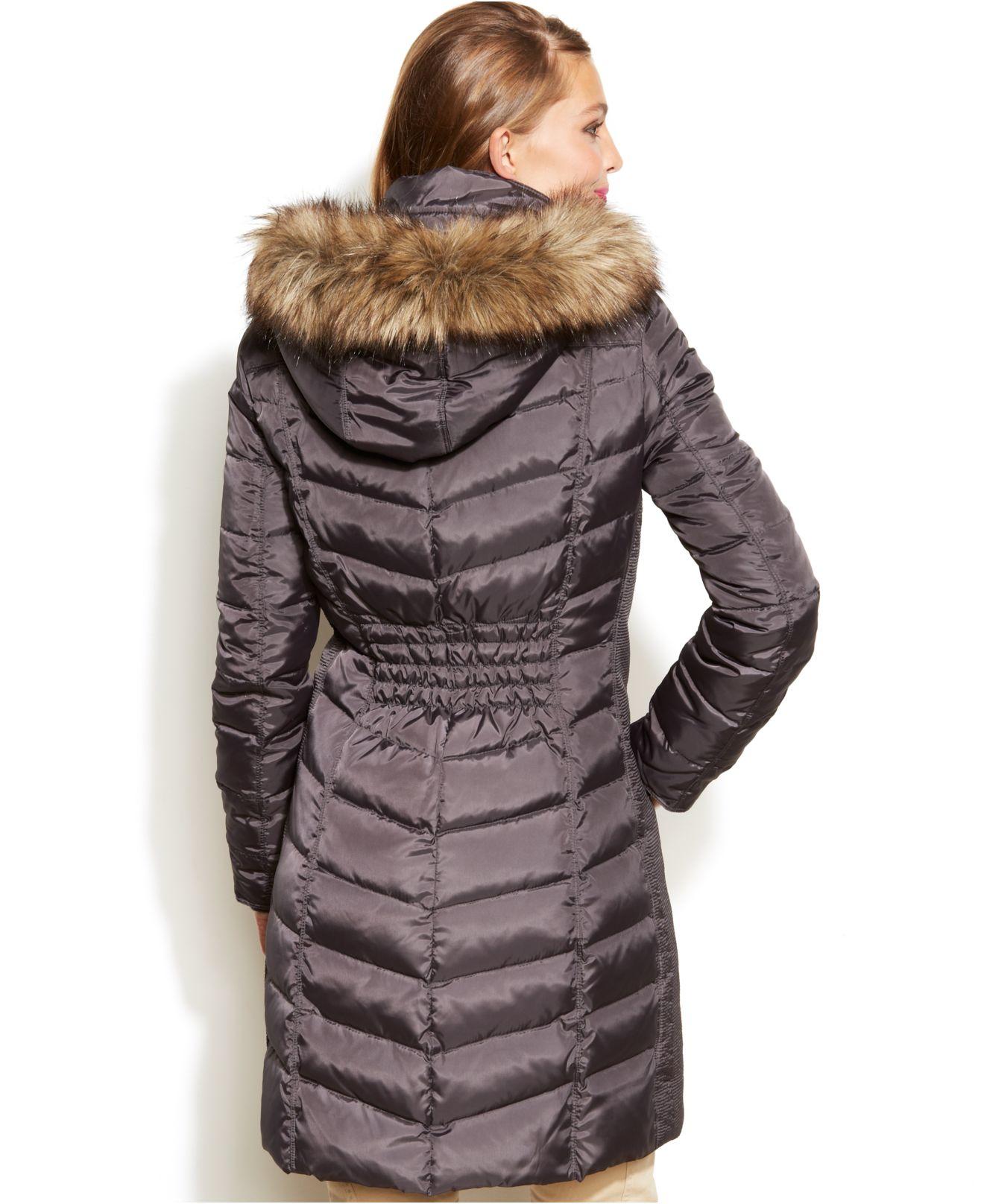 Michael Kors Michael Hooded Faux Fur Trim Down Puffer Coat