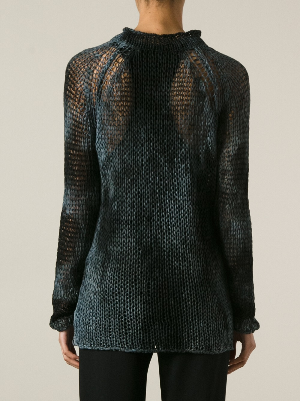Avant toi Loose Knit Sweater in Gray | Lyst