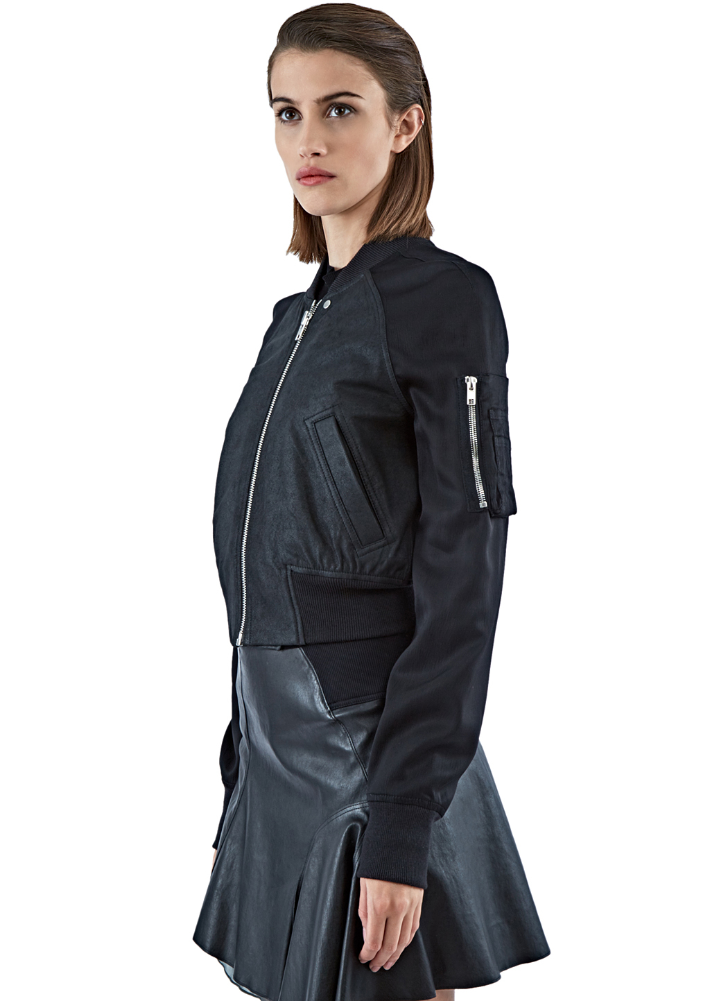 Rick owens Women&39s Cropped Leather Flight Bomber Jacket In Black