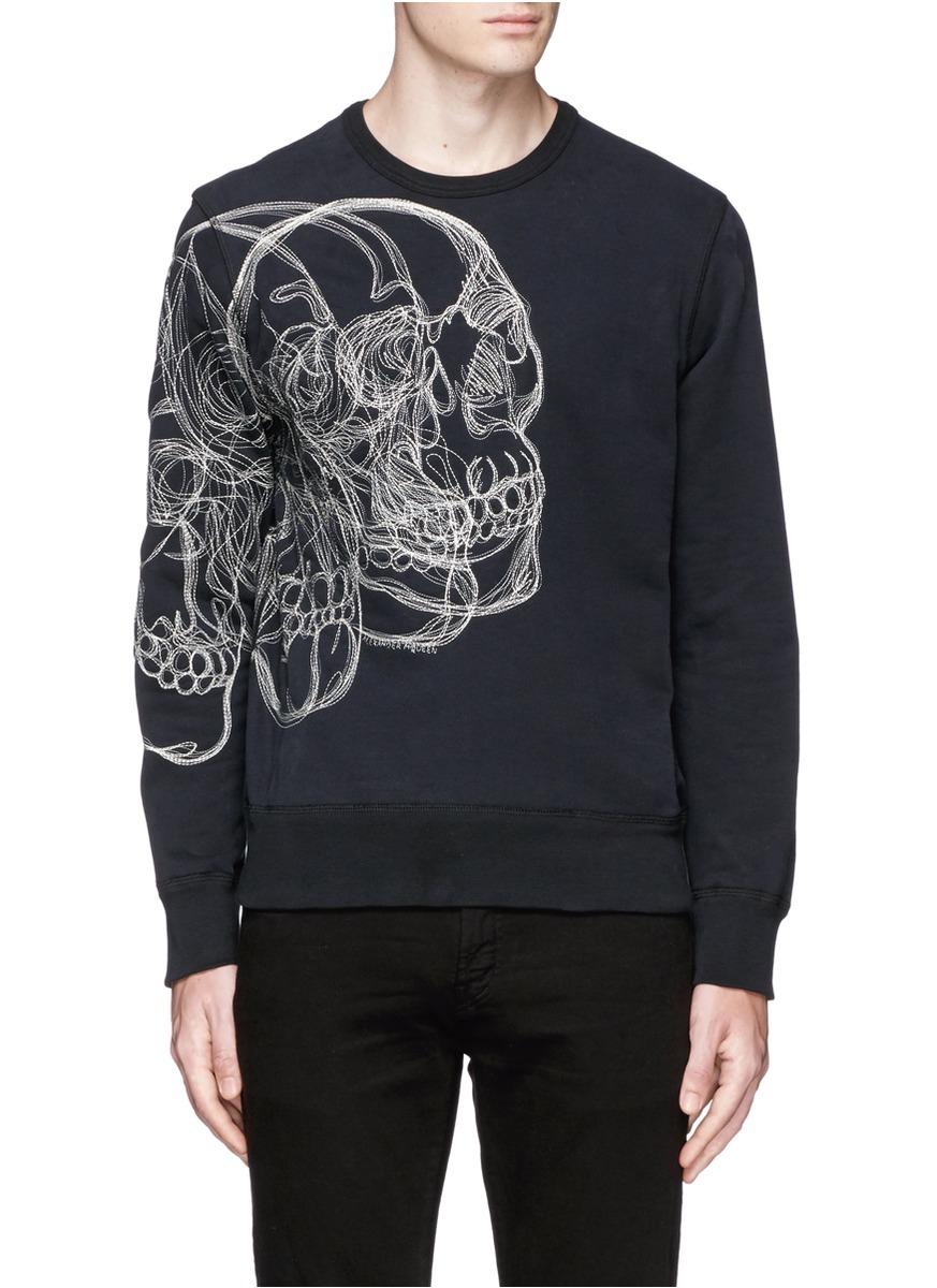 alexander mcqueen digital skull embroidered sweatshirt in black for men lyst. Black Bedroom Furniture Sets. Home Design Ideas