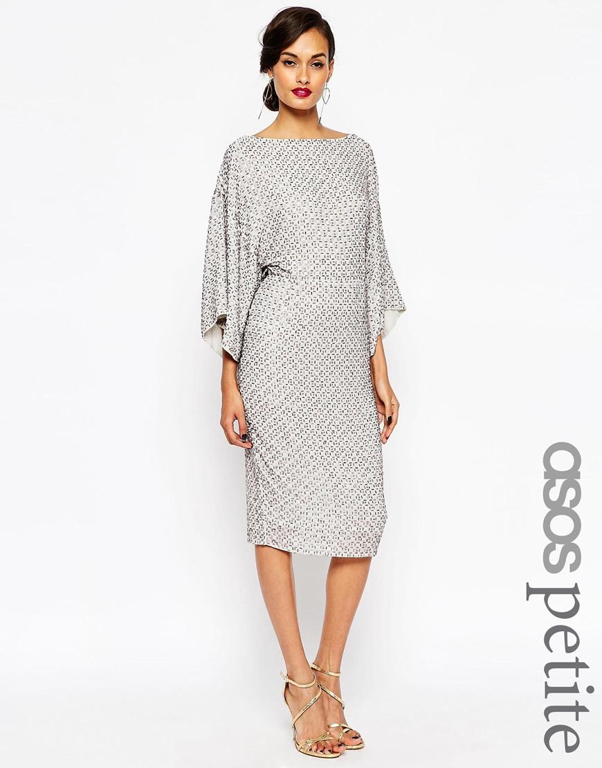 asos petite red carpet sequin grid kimono midi dress in gray lyst. Black Bedroom Furniture Sets. Home Design Ideas