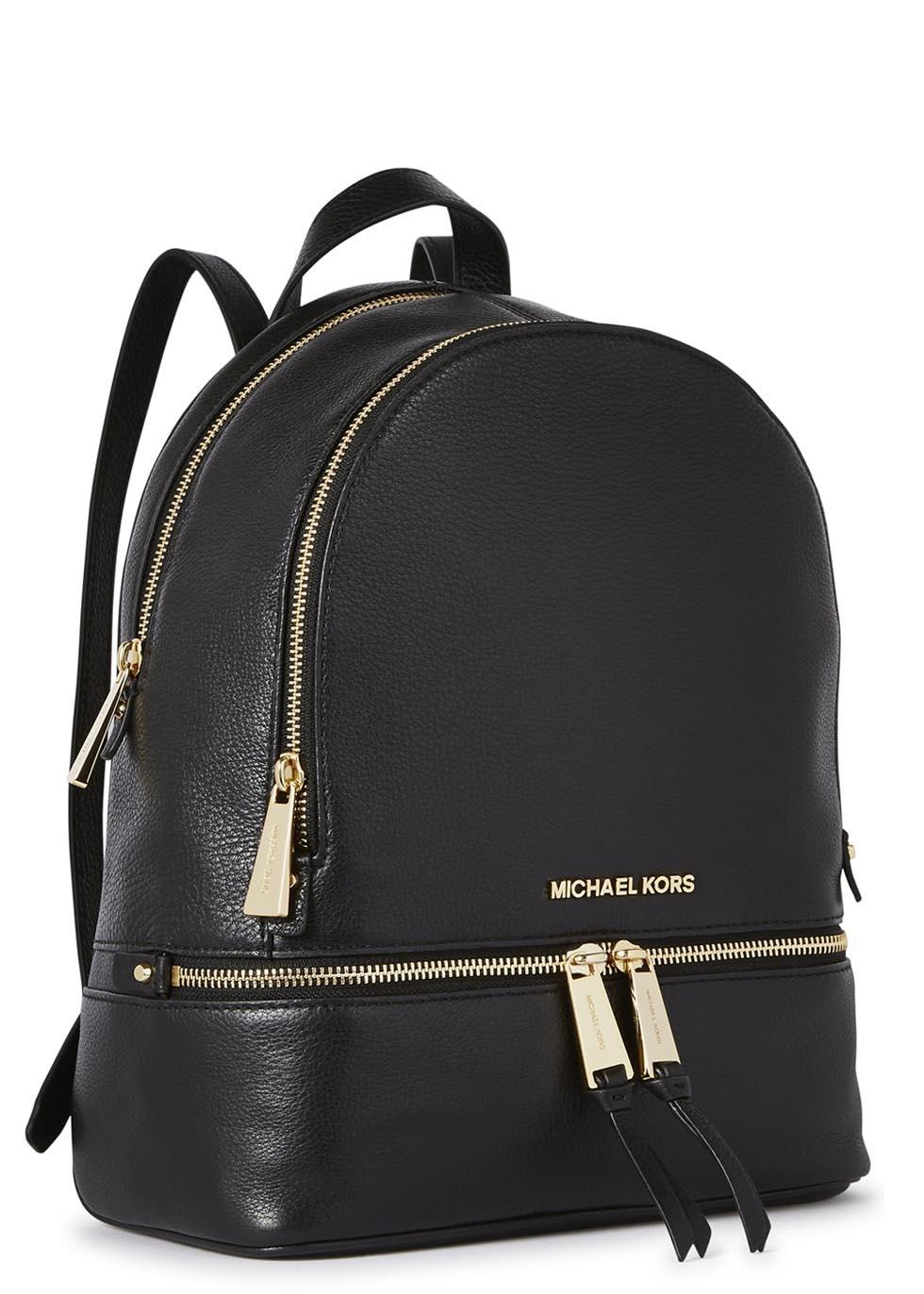 Lyst - Michael kors Rhea Small Black Leather Backpack in Black