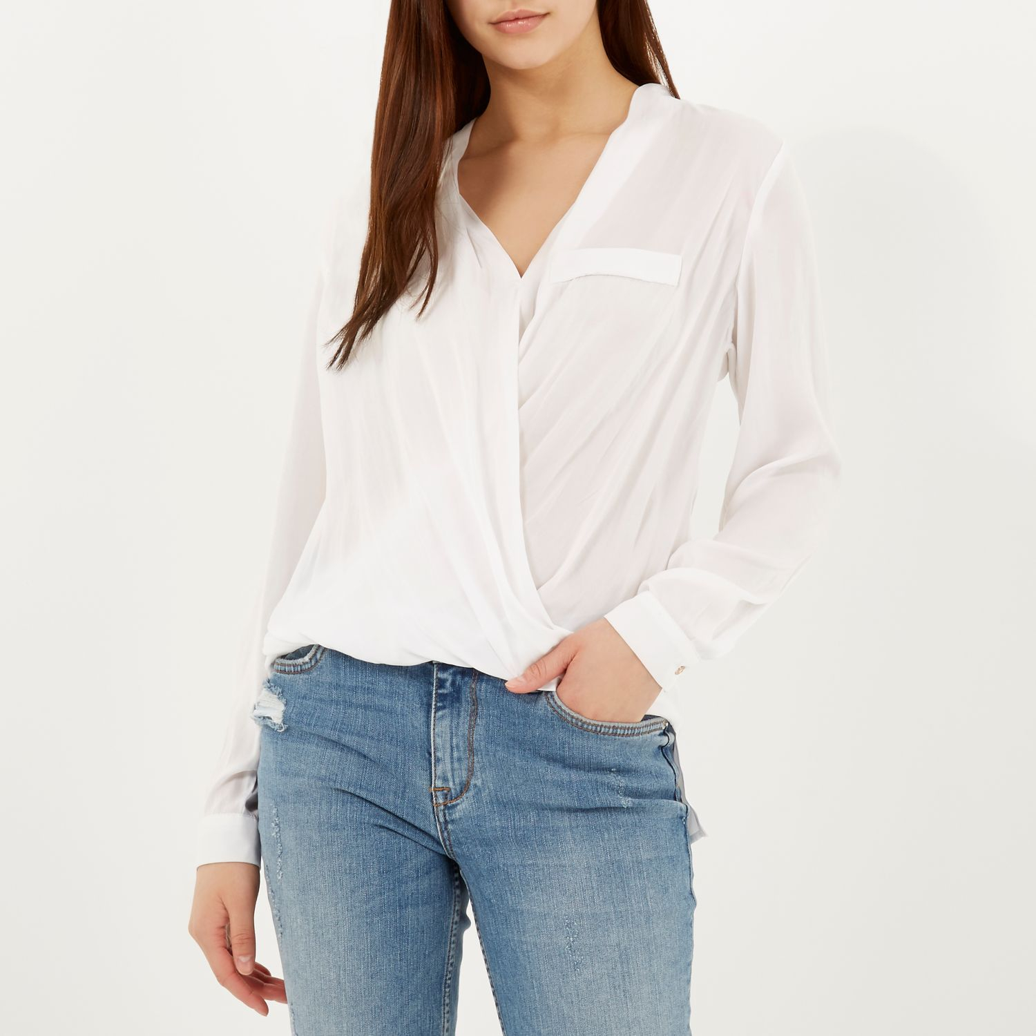 03bdbd92590f08 River Island White Wrap Front Blouse in White - Lyst
