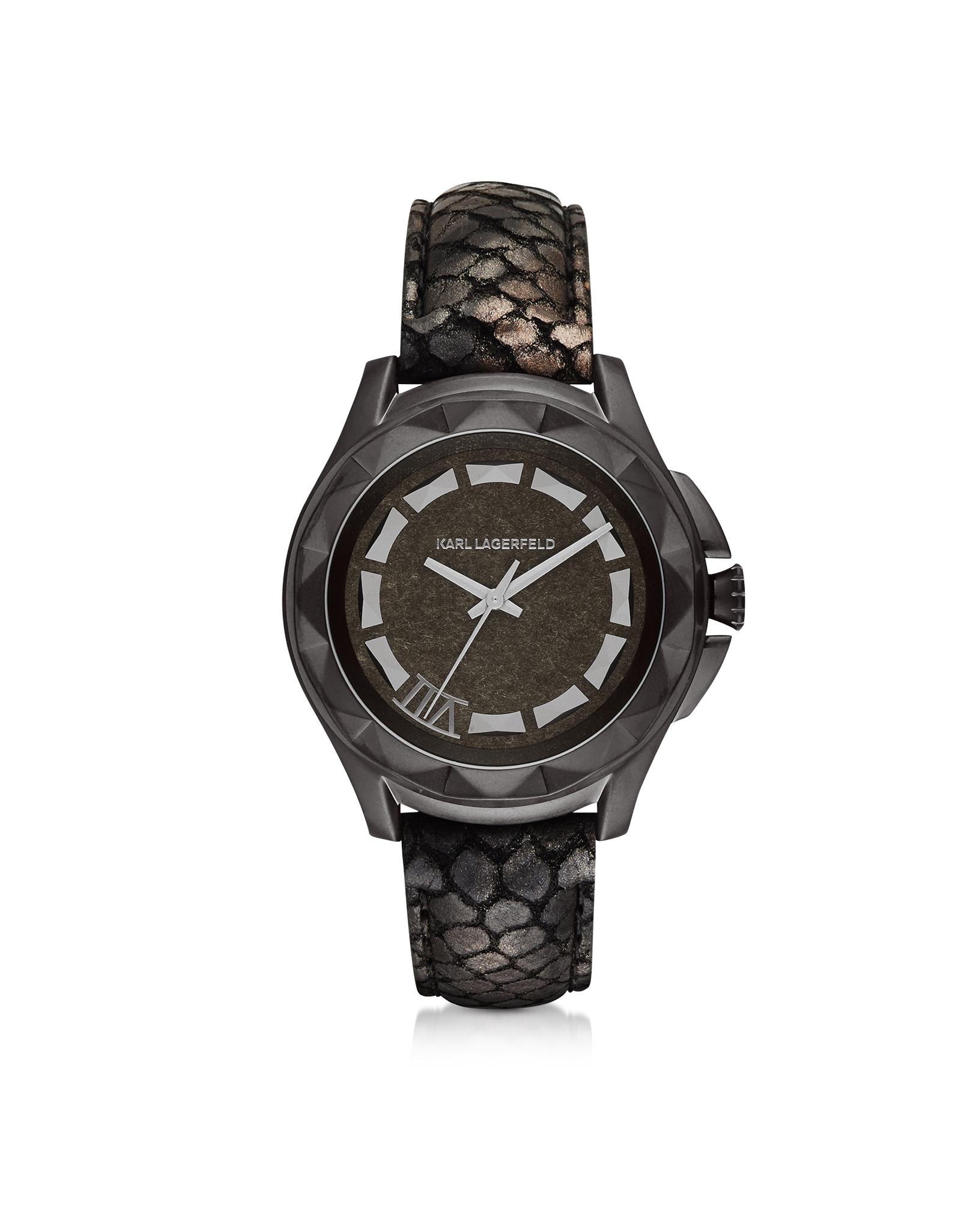lyst karl lagerfeld karl 7 44mm python embossed metallic leather band unisex watch in black. Black Bedroom Furniture Sets. Home Design Ideas