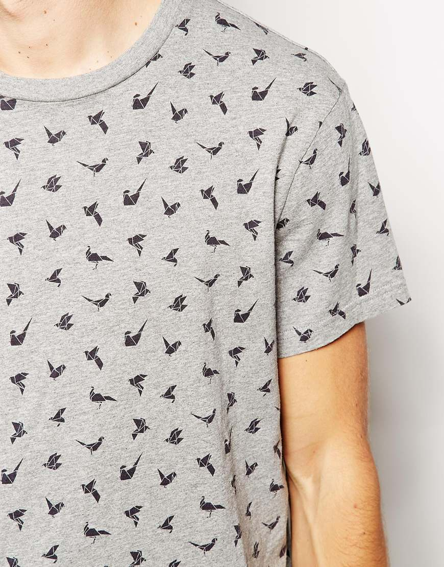 Lyst jack wills t shirt with origami pheasant print in gray for men gallery jeuxipadfo Gallery