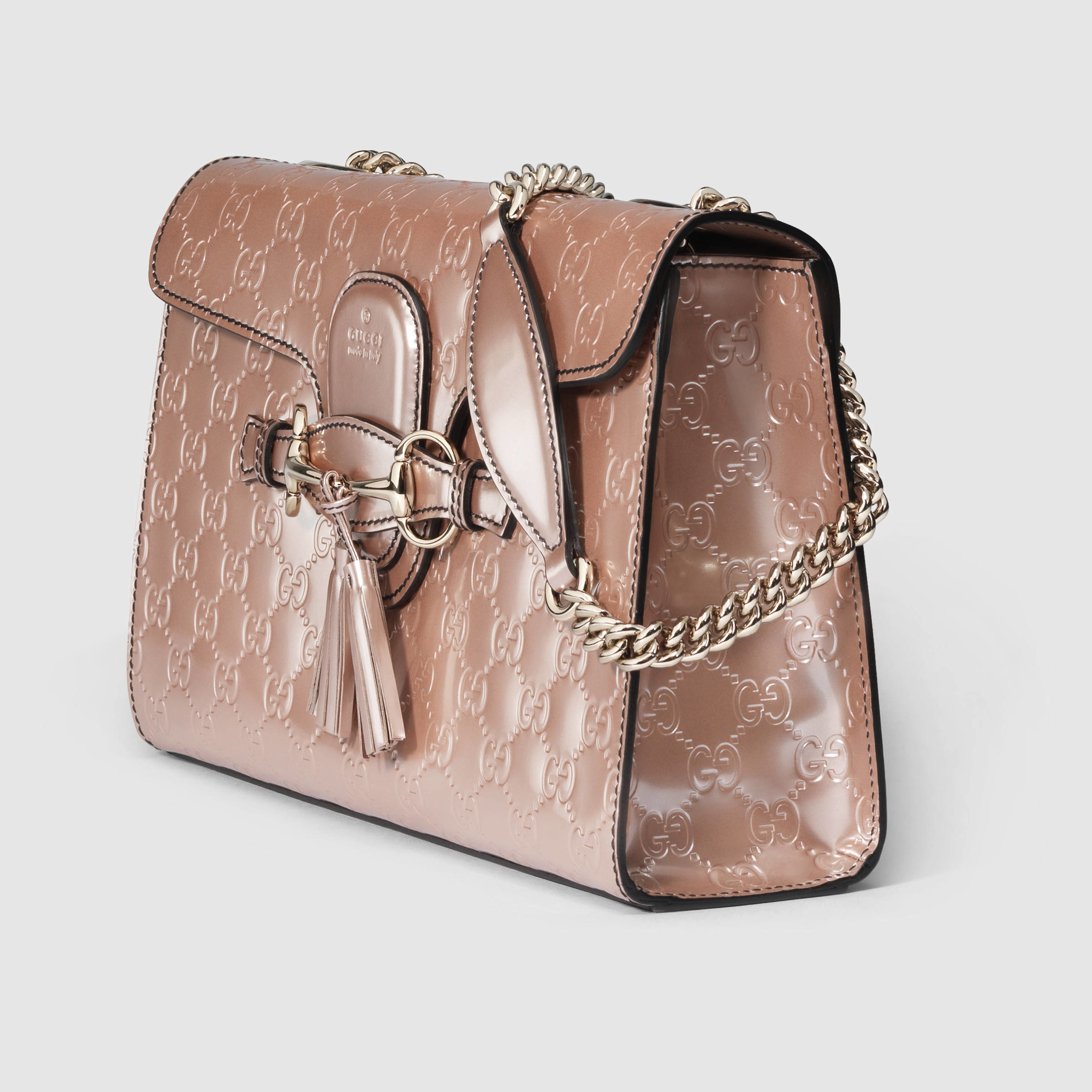 bde04fbdc90 Lyst - Gucci Emily Guccissima Chain Shoulder Bag in Natural