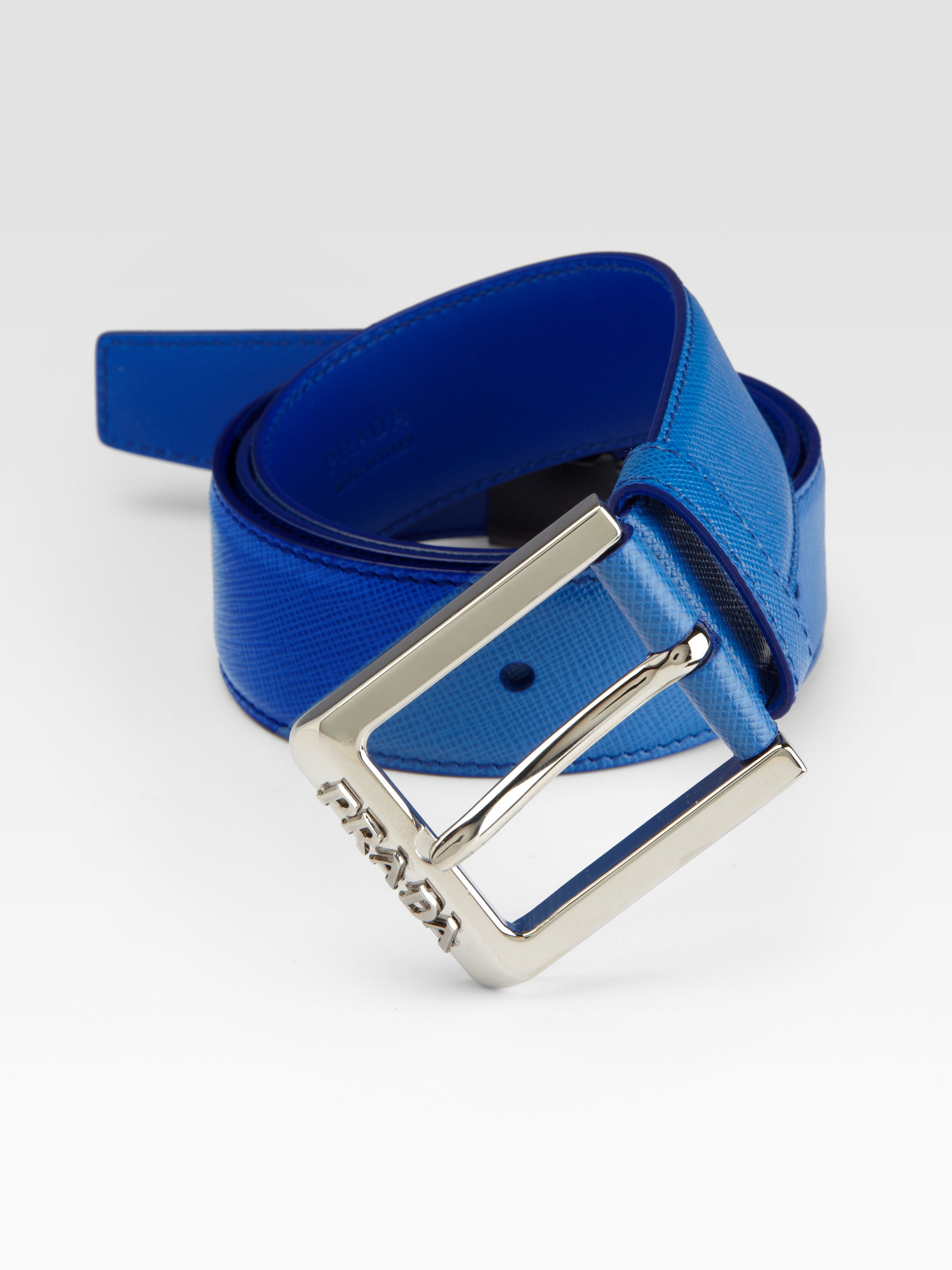 Prada Saffiano Leather Belt in Blue for Men | Lyst