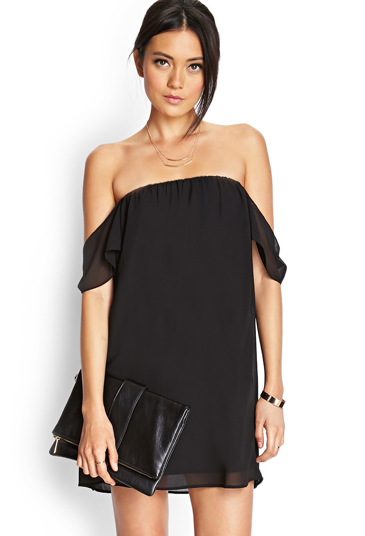 Forever 21 Off-The-Shoulder Swing Dress in Black
