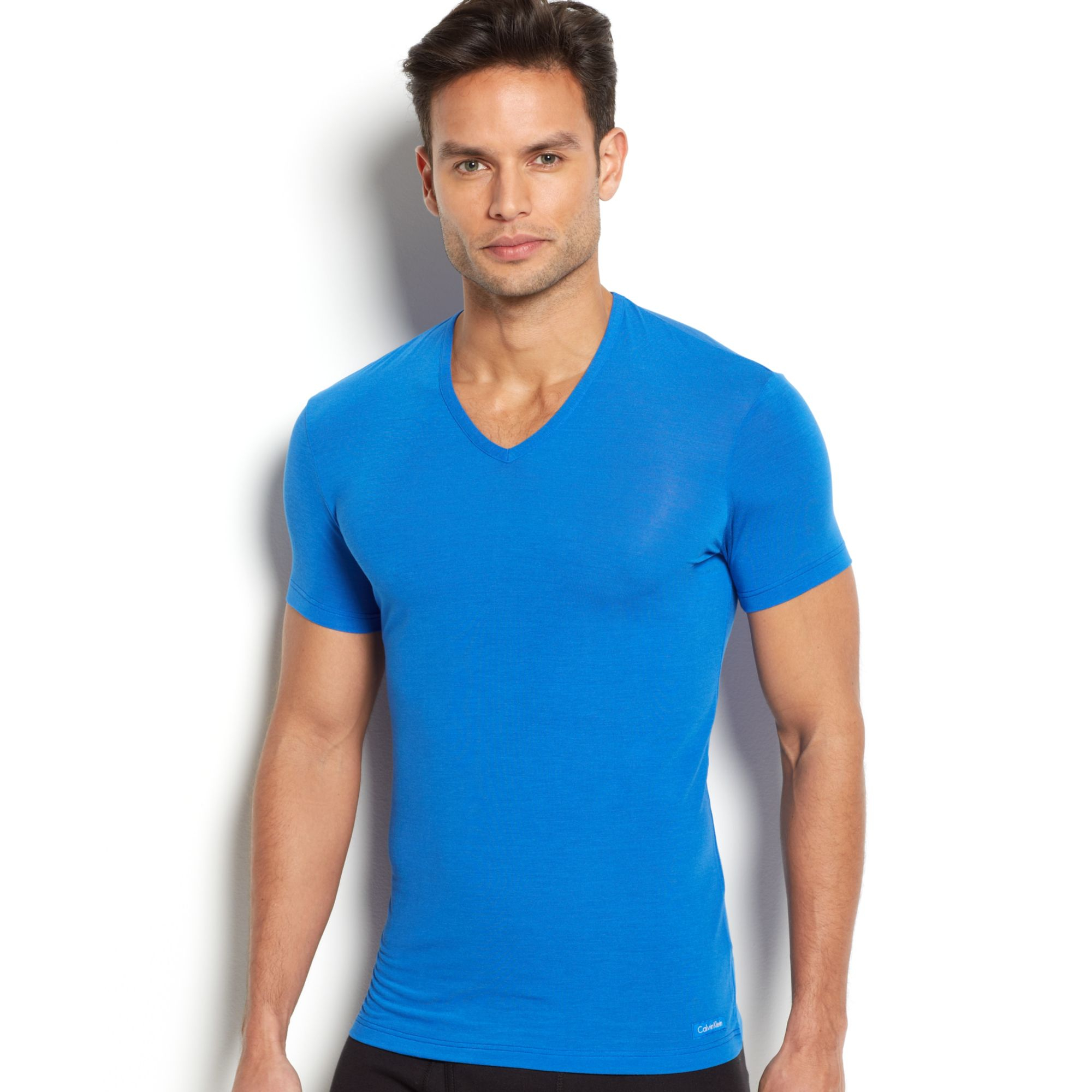 calvin klein mens vneck body modal tshirt in blue for men