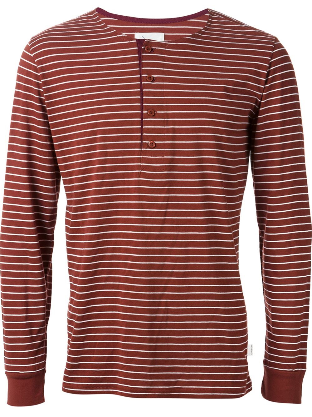 Lyst saturdays nyc striped button fastening long sleeve Striped long sleeve t shirt