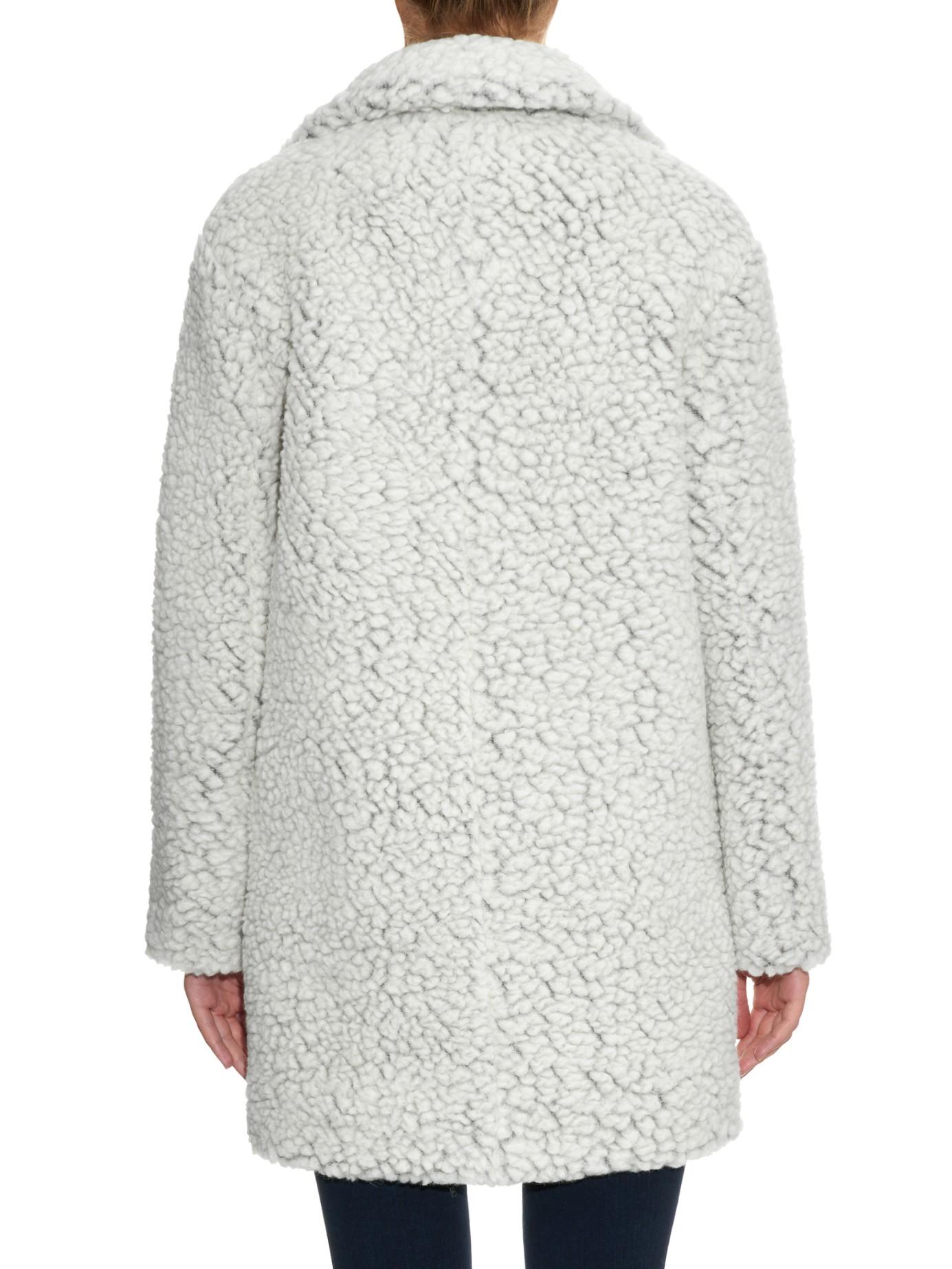 Kenzo Faux-shearling Wool-blend Coat in White | Lyst