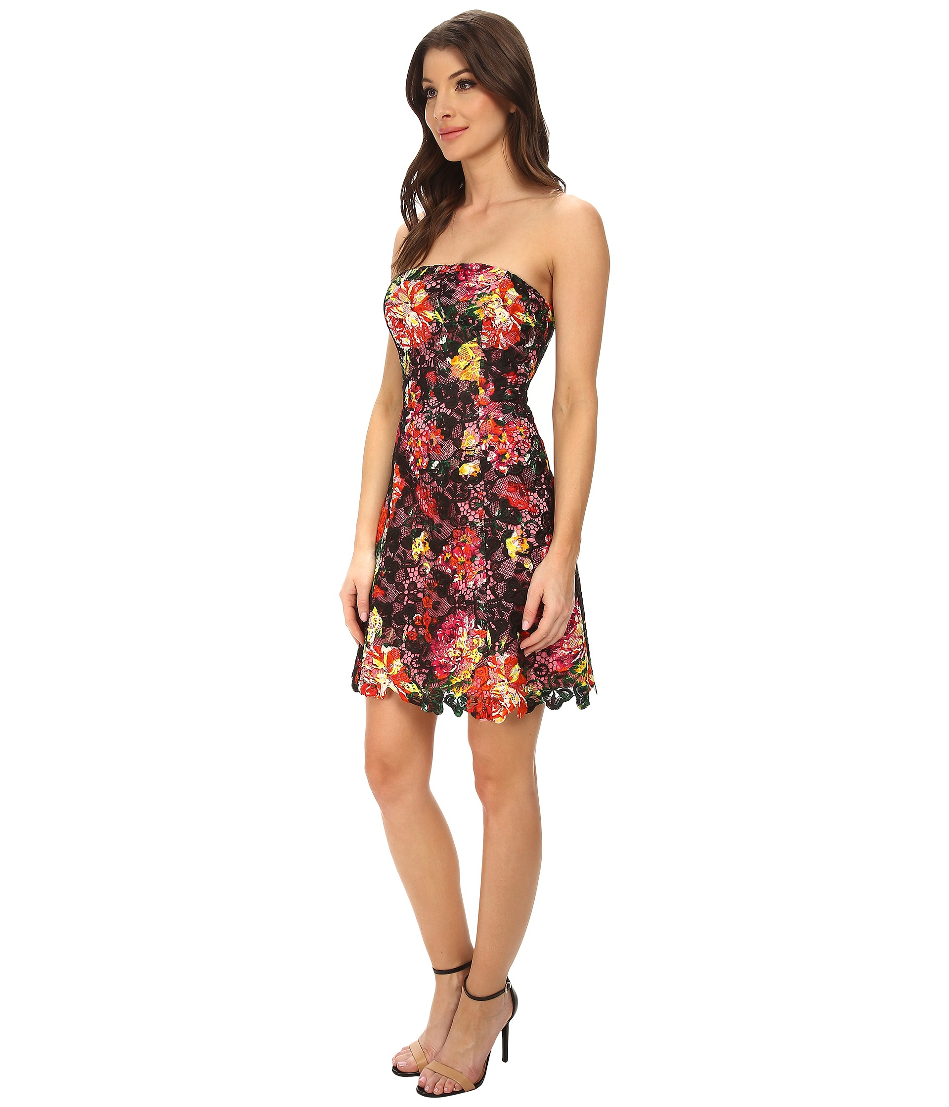 Adrianna Papell Strapless Floral Print Lace Dress Lyst
