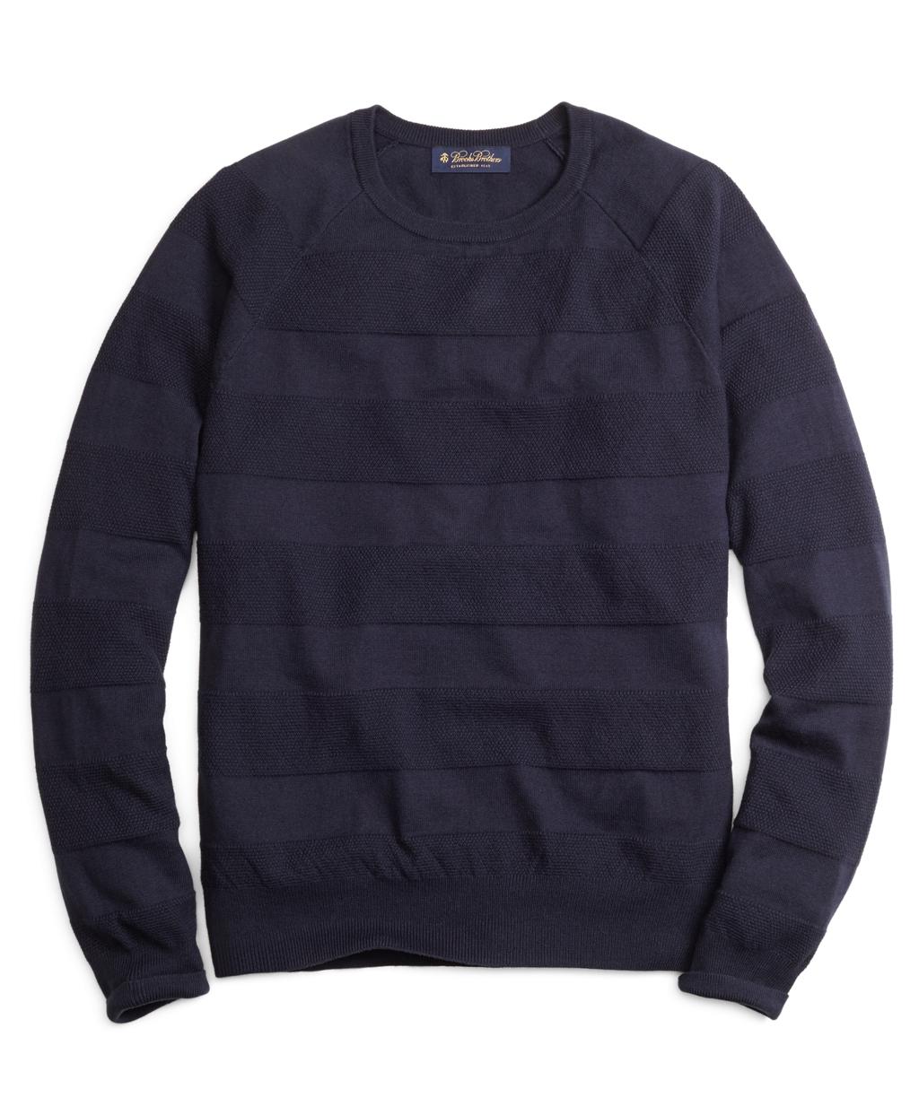 3cf224d8d Lyst - Brooks Brothers Cotton Cashmere Crewneck Tonal Stripe Sweater ...