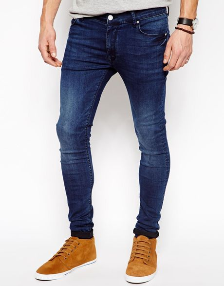asos extreme super skinny jeans in blue for men lyst. Black Bedroom Furniture Sets. Home Design Ideas
