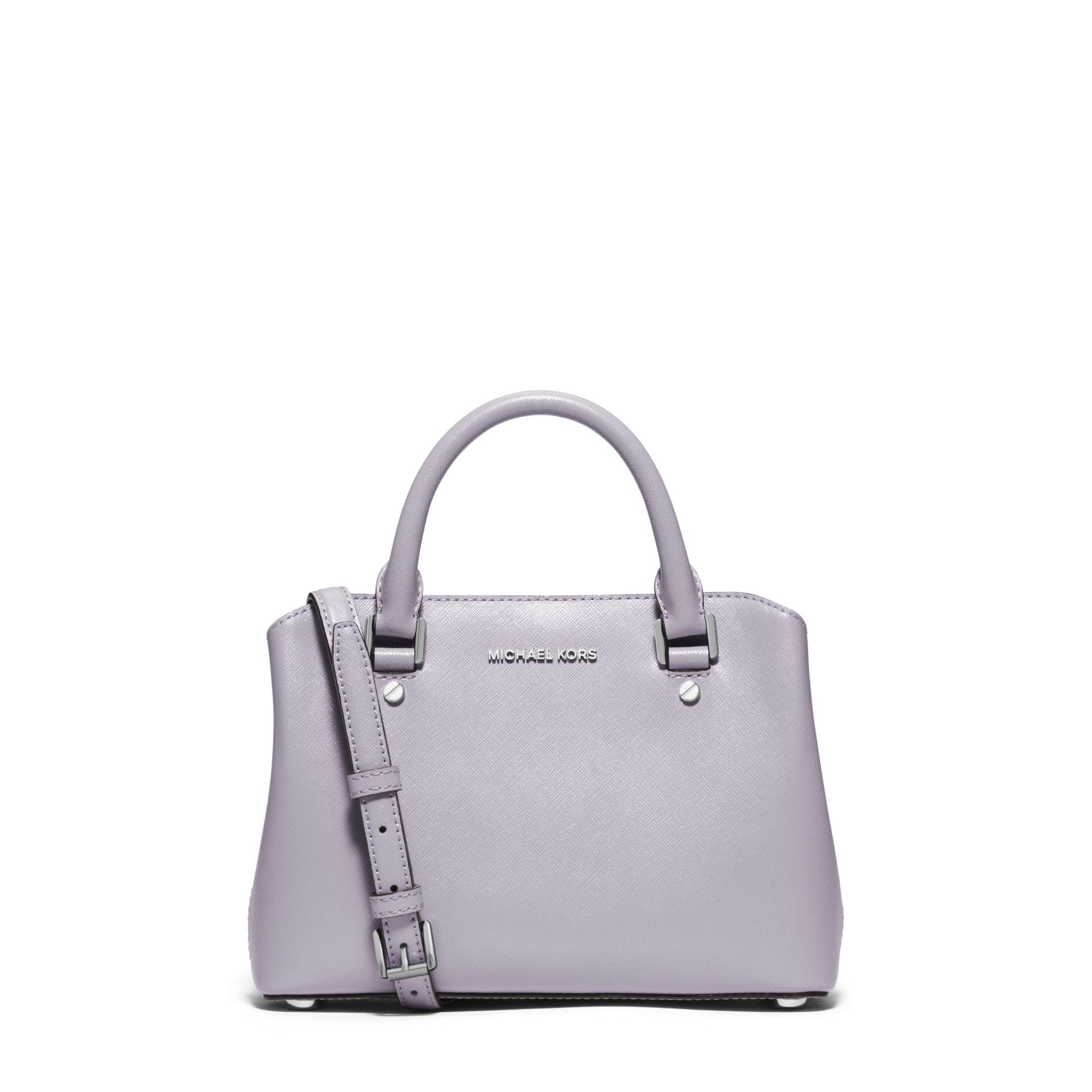 6aa1f944df718f Michael Kors Savannah Small Patent-leather Satchel in Purple - Lyst