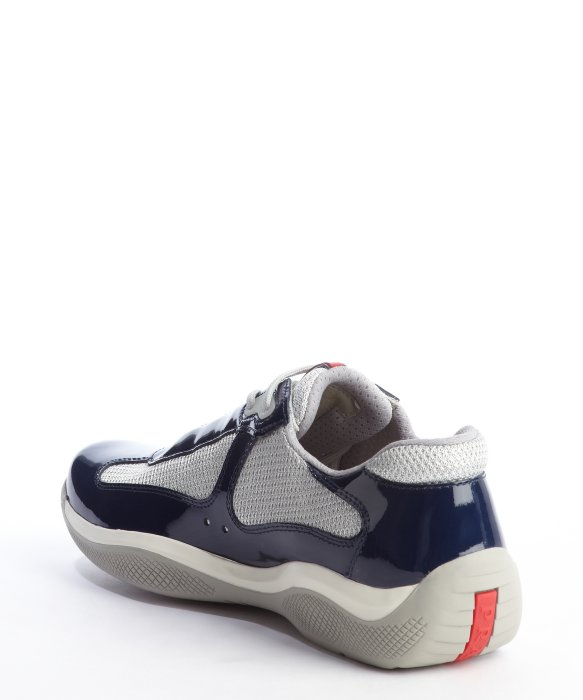 14239392d4d546 ... best get lyst prada navy and silver patent leather mesh sneakers in  blue 12e58 a6a9d 1259a