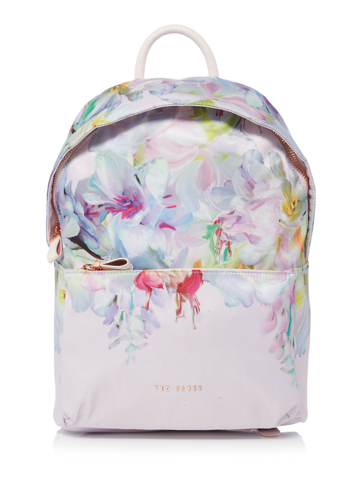 Ted Baker Freia Light Pink Floral Nylon Backpack In Pink