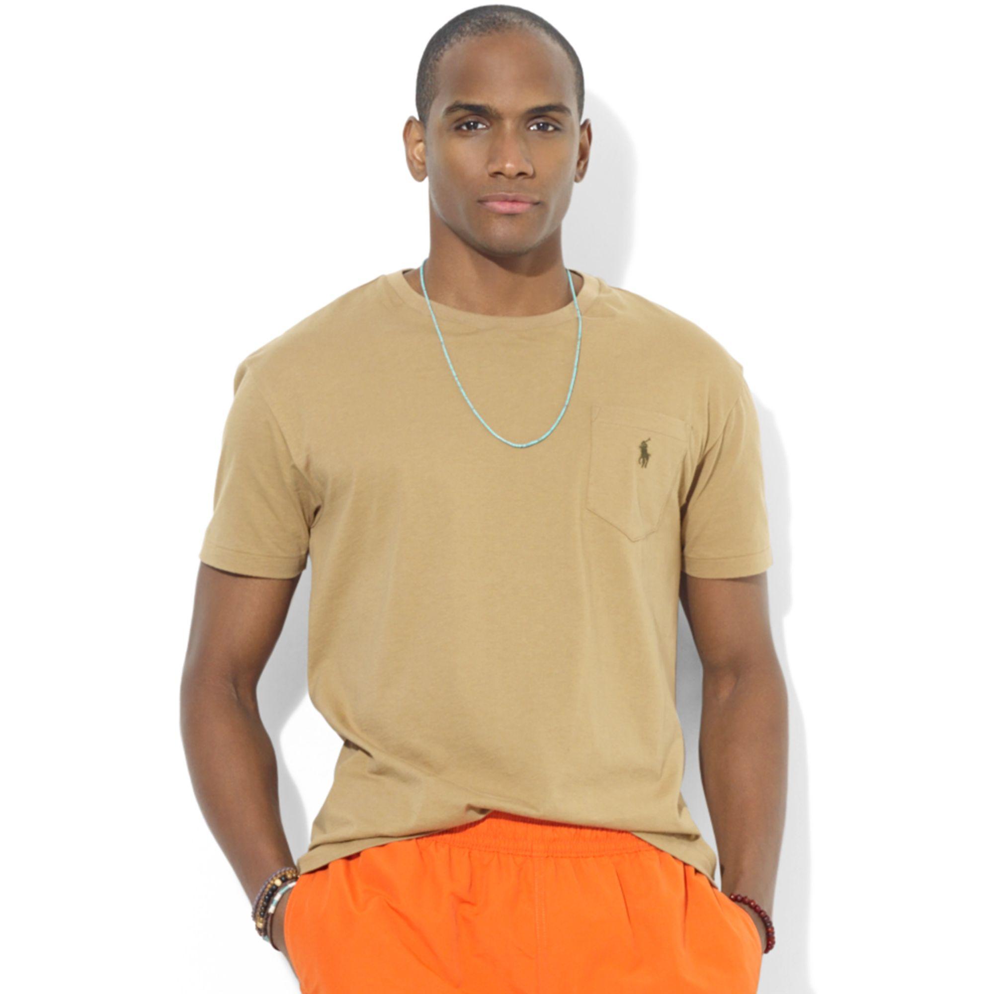 Lyst ralph lauren polo classicfit cotton jersey pocket for Ralph lauren polo jersey shirt