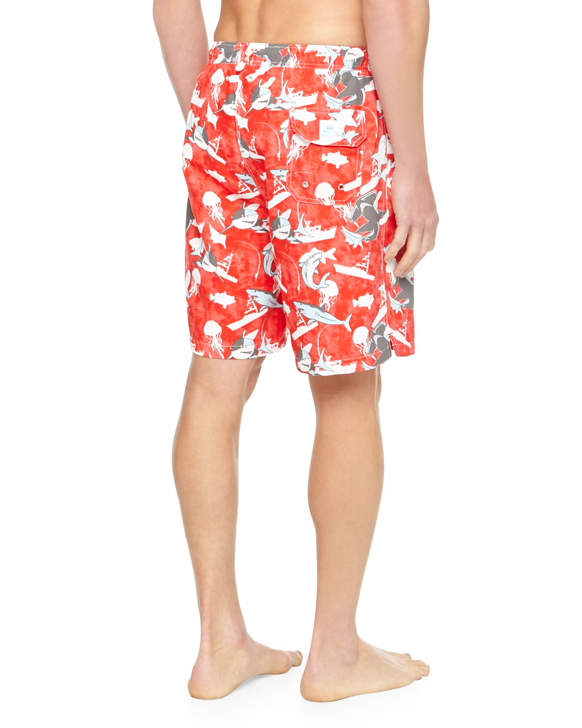 cab7bf27aa Peter Millar Shark-print Swim Trunks in Red for Men - Lyst