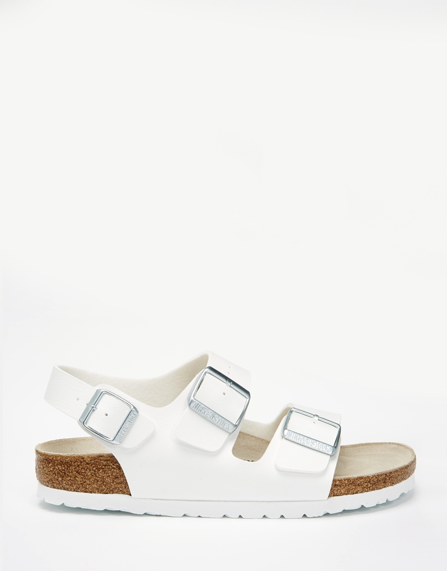 5a64c9d7351c Lyst - Birkenstock Milano Birko Flor White Slider Flat Sandals in White