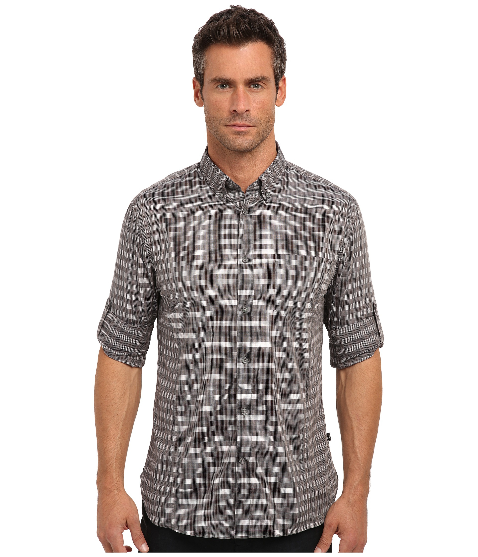 John varvatos plaid roll tab sleeved sportshirt in gray for Men s roll tab sleeve shirts