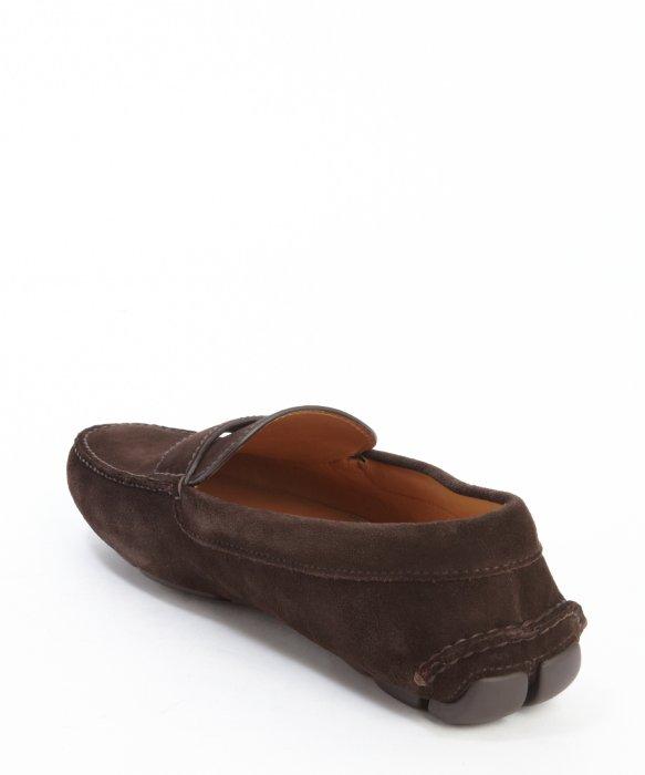 51fcca45701 ... australia lyst prada dark brown suede penny loafers in brown for men  ef6e4 191b0