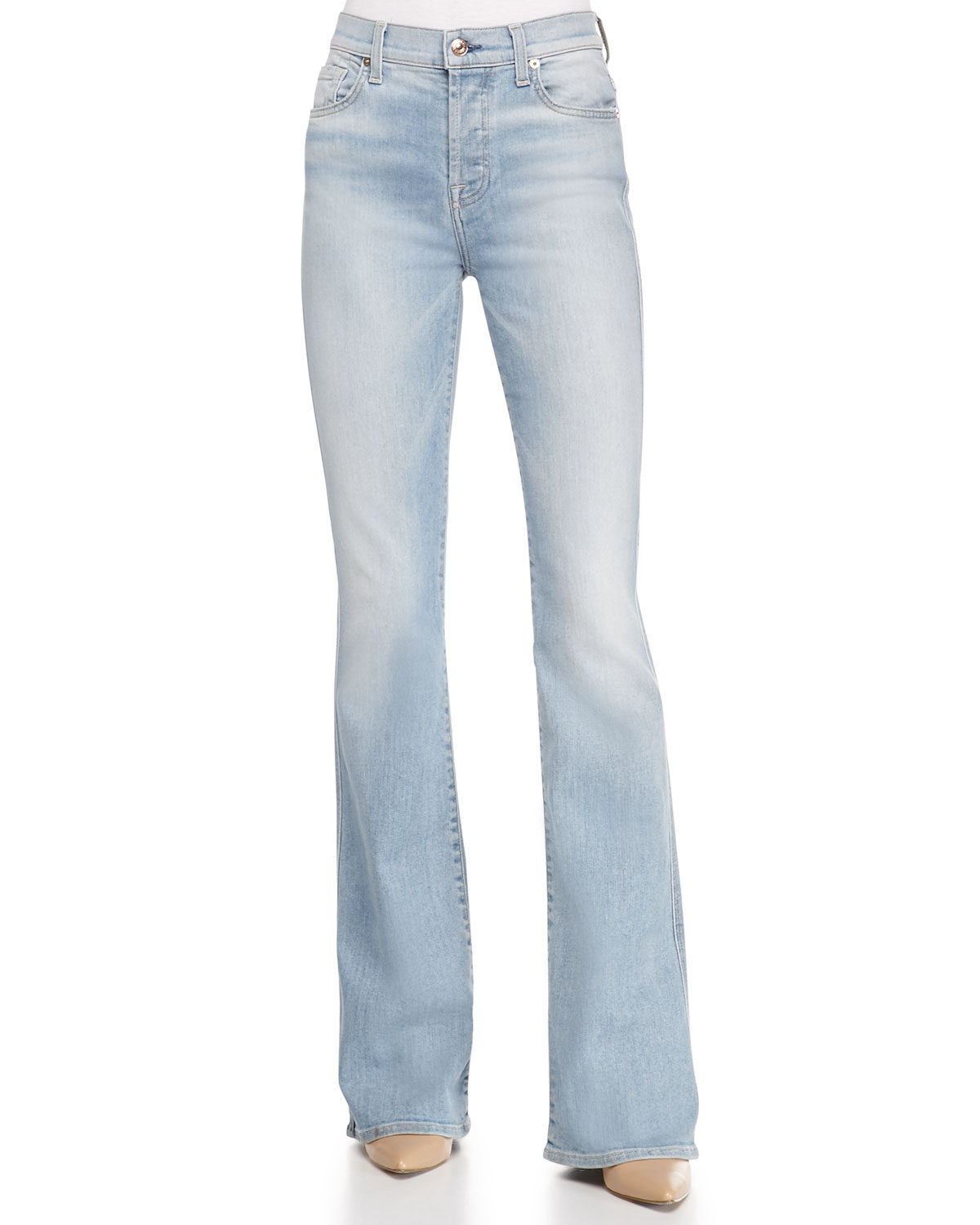 7 for all mankind High-waist Vintage Bootcut Jeans in White | Lyst