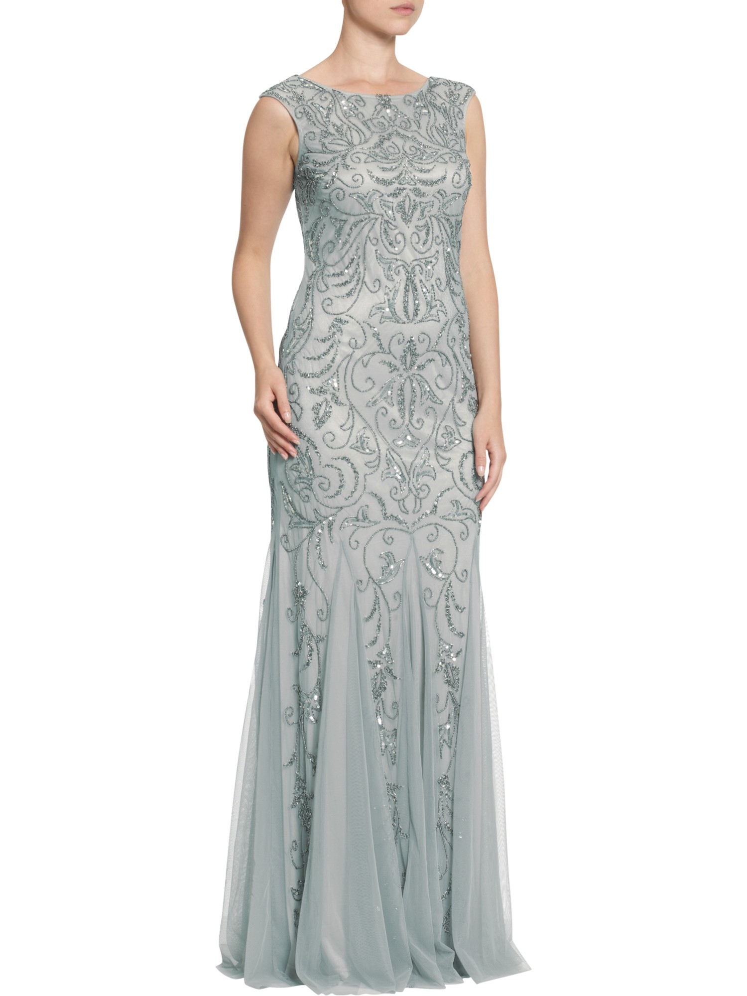 Adrianna Papell Cap Sleeve Beaded Dress In Blue Lyst