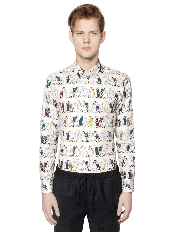 lyst paul joe cartoon print shirt in natural for men. Black Bedroom Furniture Sets. Home Design Ideas
