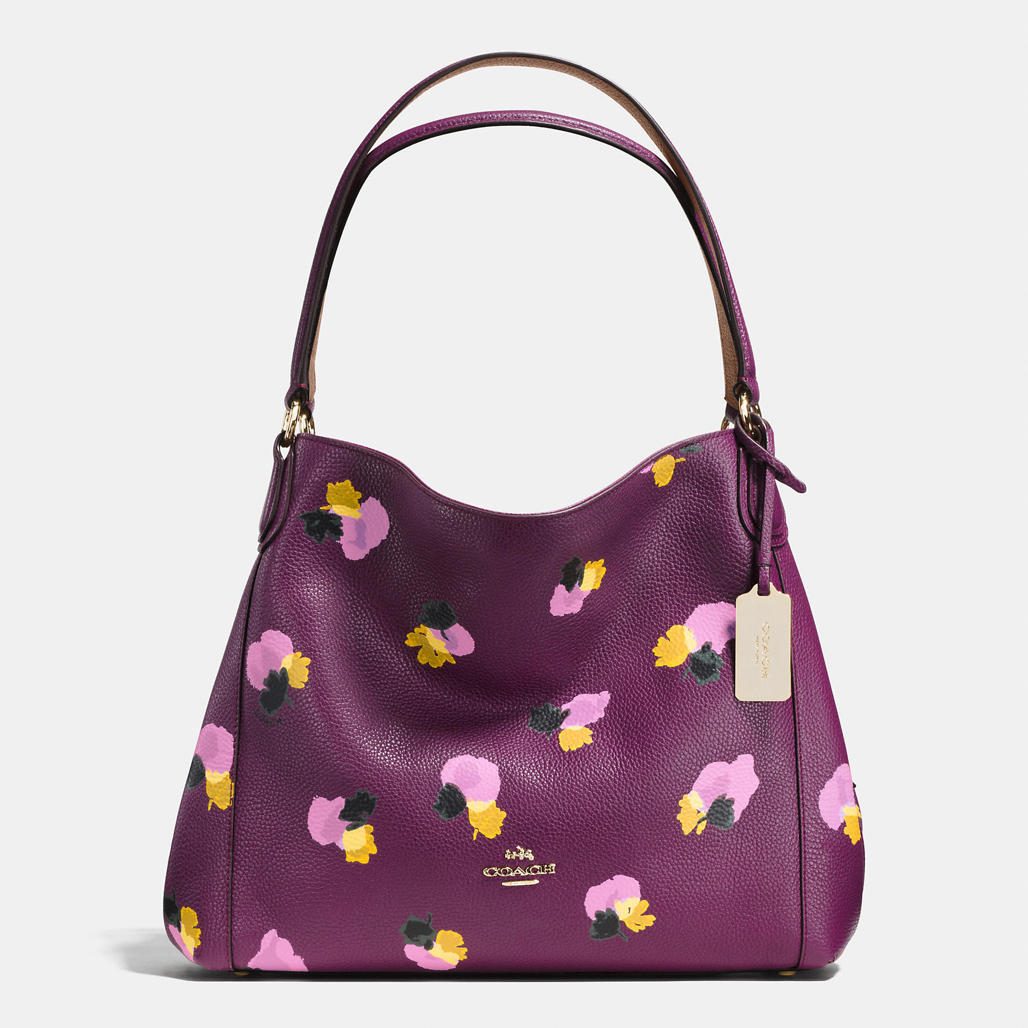 86b6c1a10588 Lyst - COACH Edie Shoulder Bag 31 In Floral Print Leather in Purple