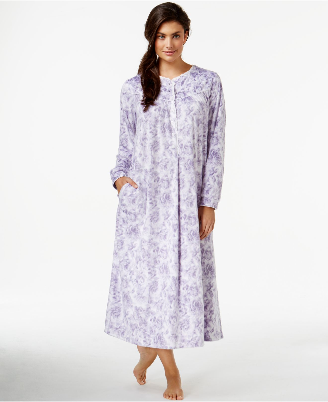 Lyst - Lanz Of Salzburg Long Flannel Nightgown in Purple