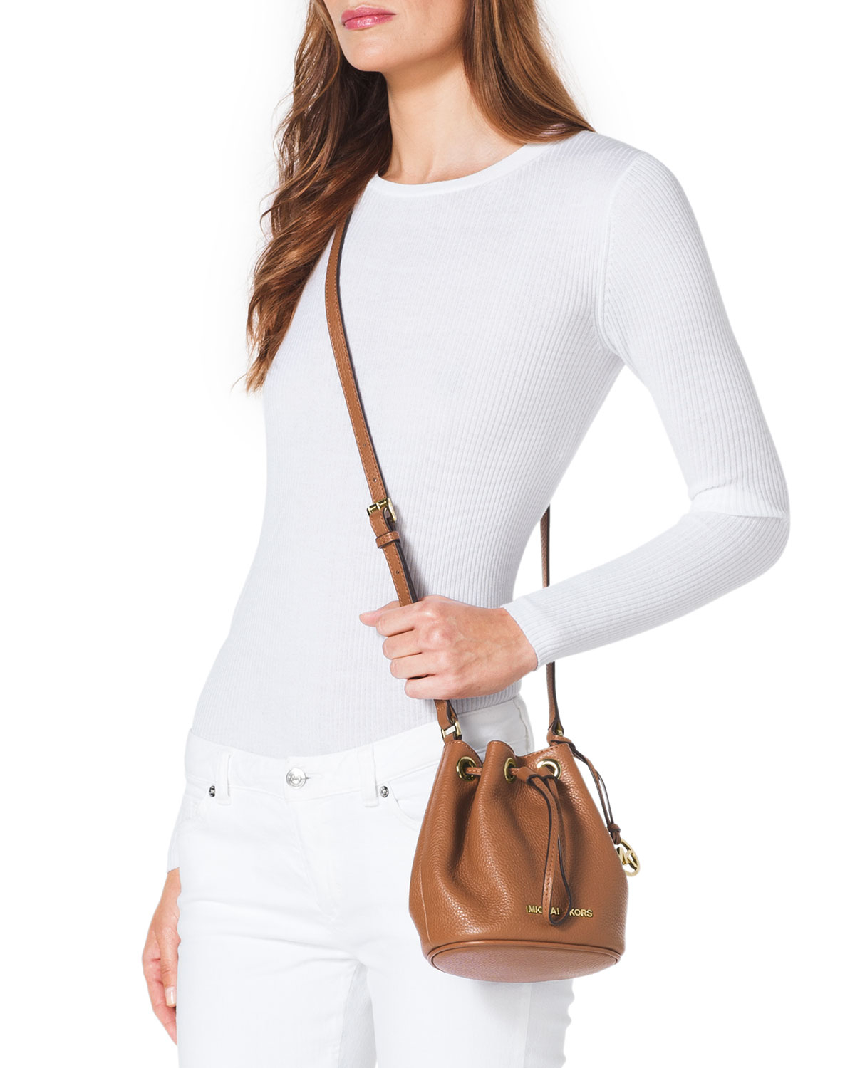 f9a13fec840d ... best lyst michael michael kors jules drawstring crossbody bag in brown  4ab8c 3015c
