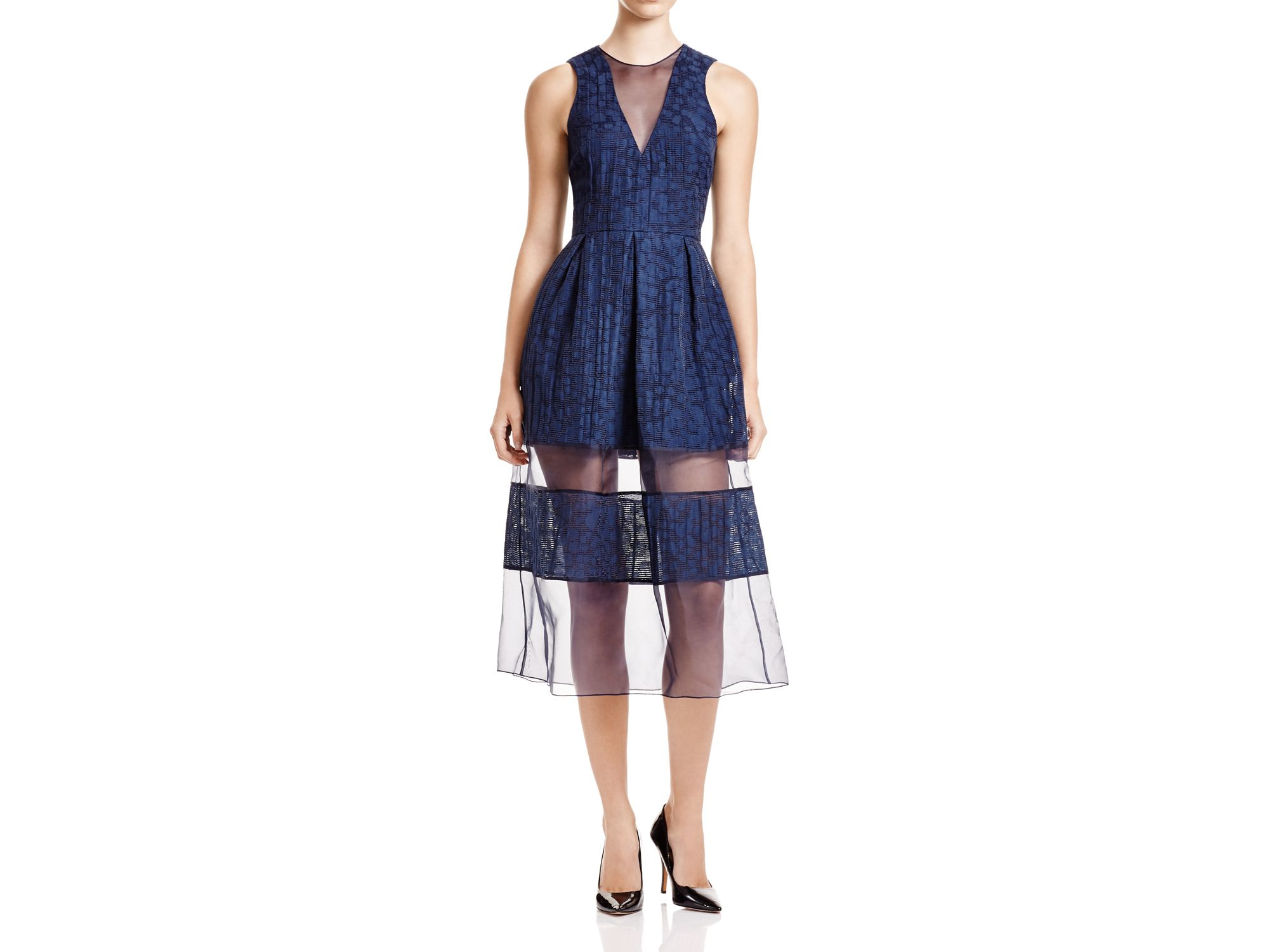 f14367537bc8 Timo Weiland - Blue V-neck Sheer Stripe Dress - Bloomingdale's Exclusive -  Lyst