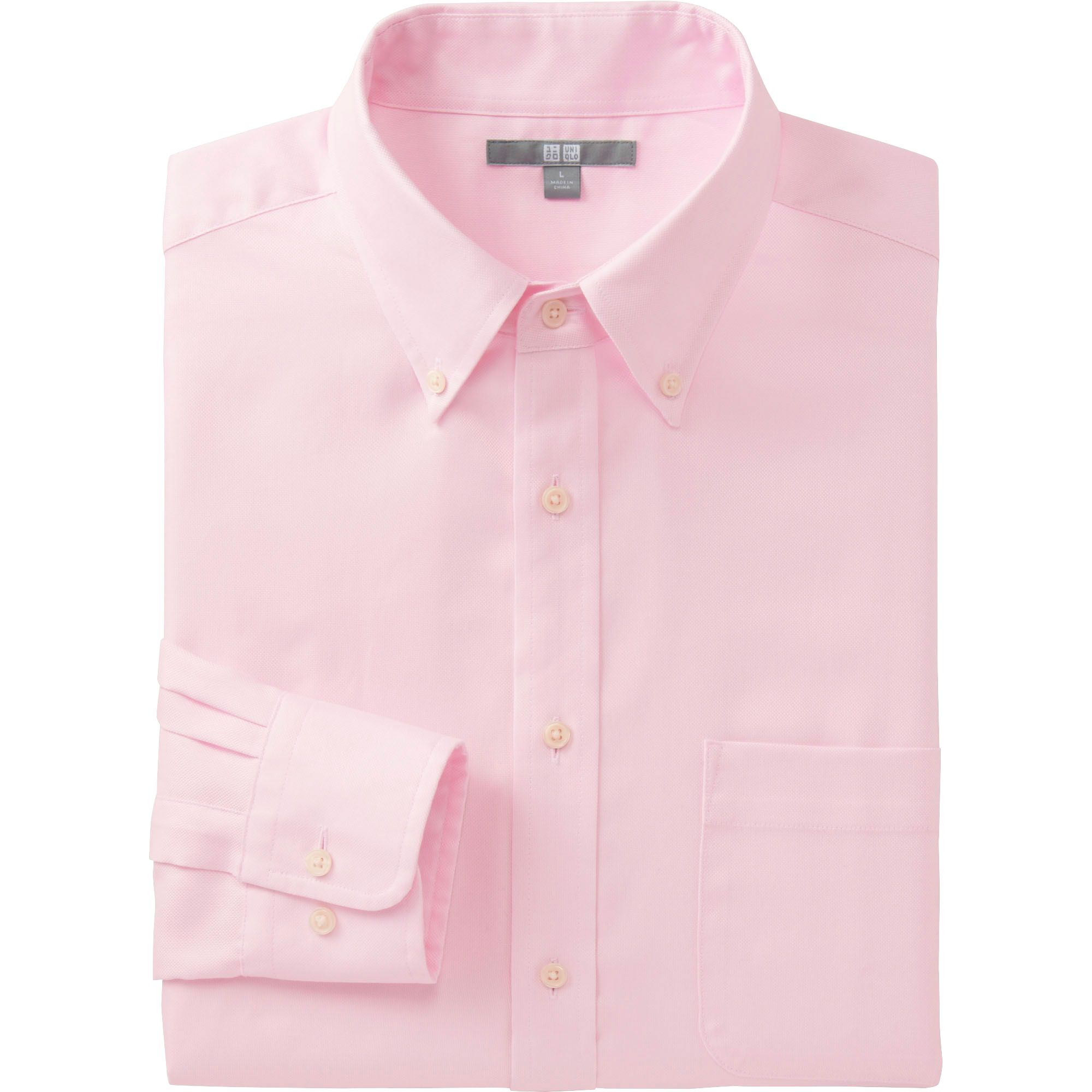 Uniqlo men easy care oxford long sleeve shirt in pink for for Pink oxford shirt men