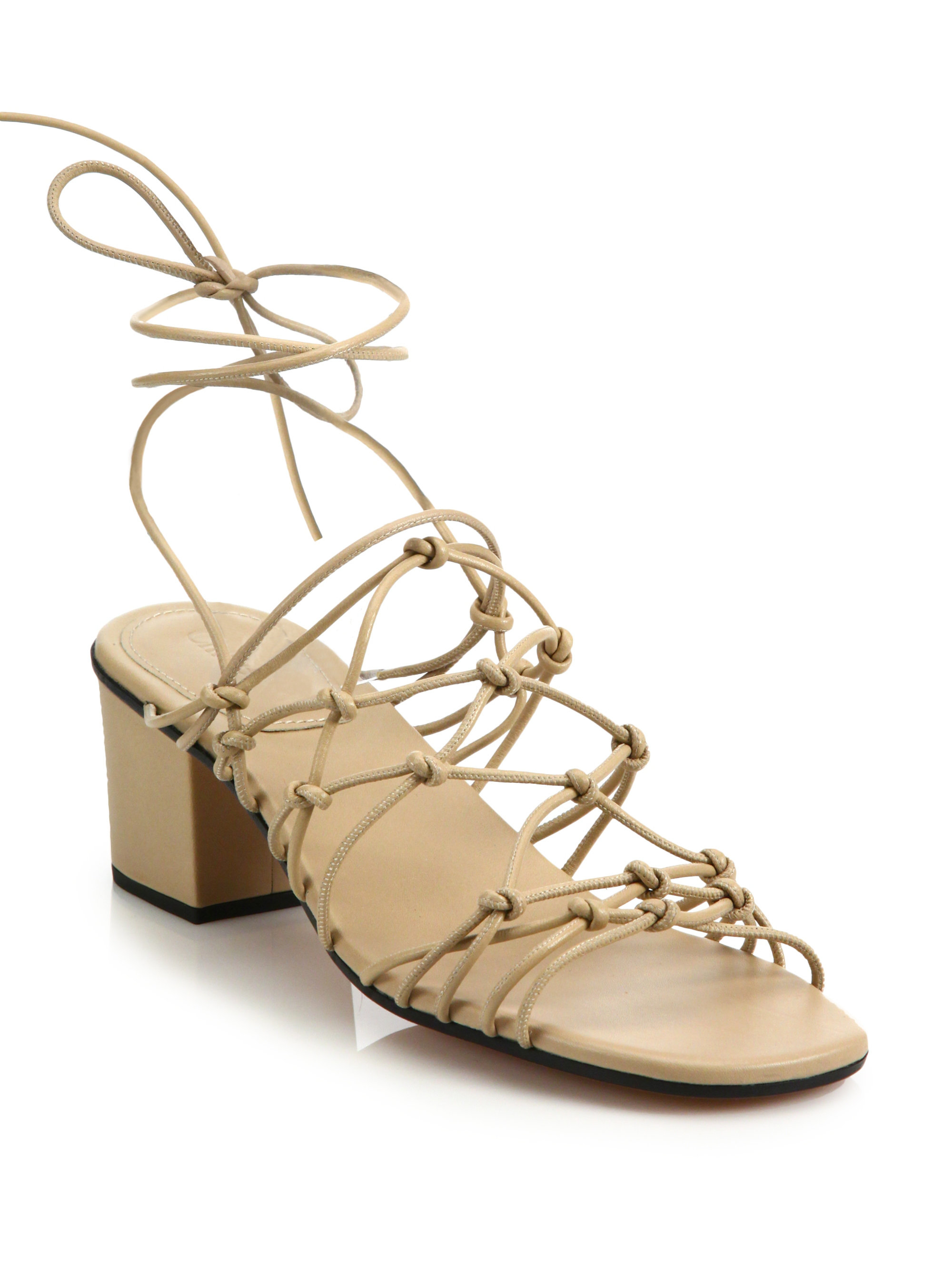 d7709fabdb5 Lyst - Chloé Knotted Leather Lace-up Block-heel Sandals in Natural