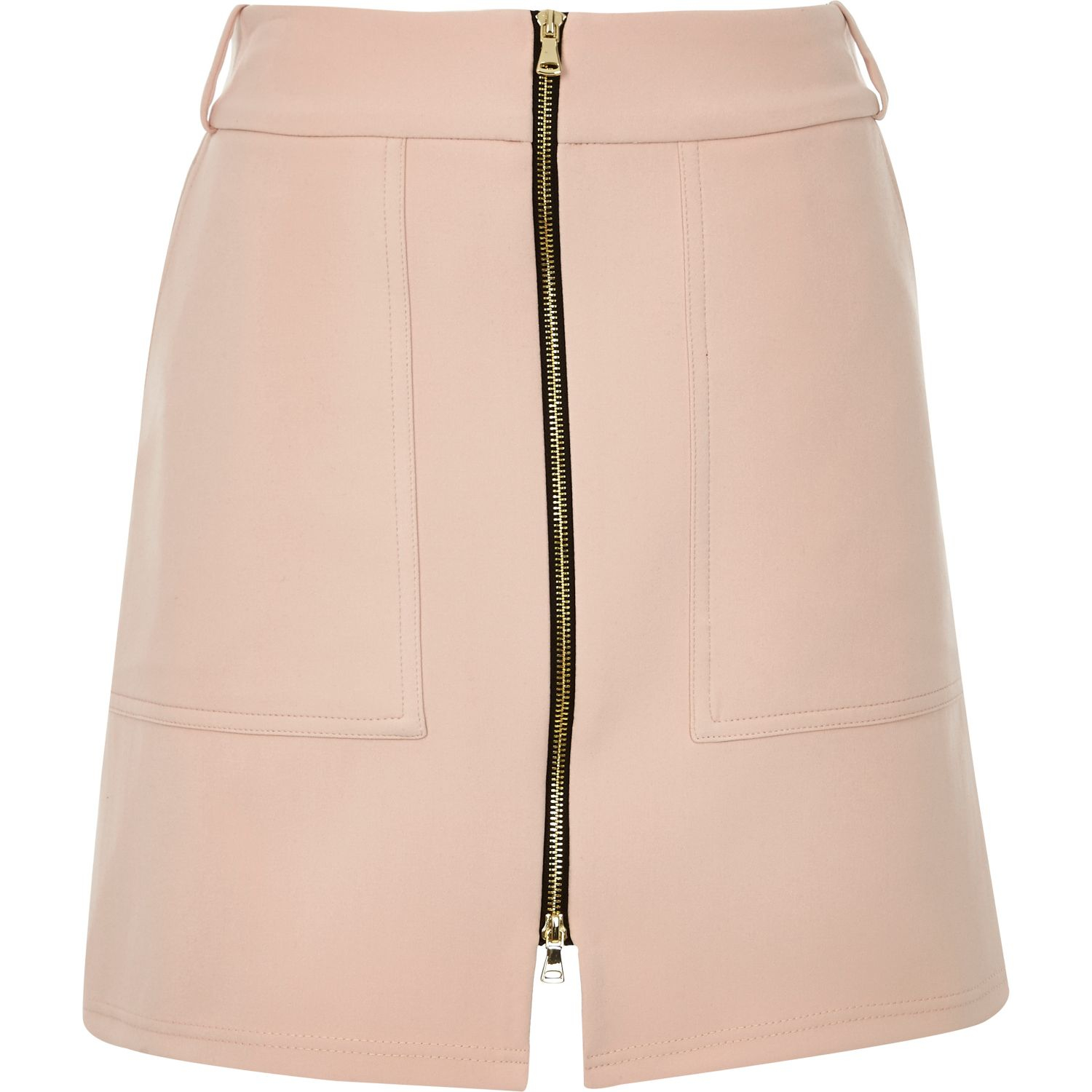 River island Light Pink Zip-up A-line Skirt in Pink | Lyst