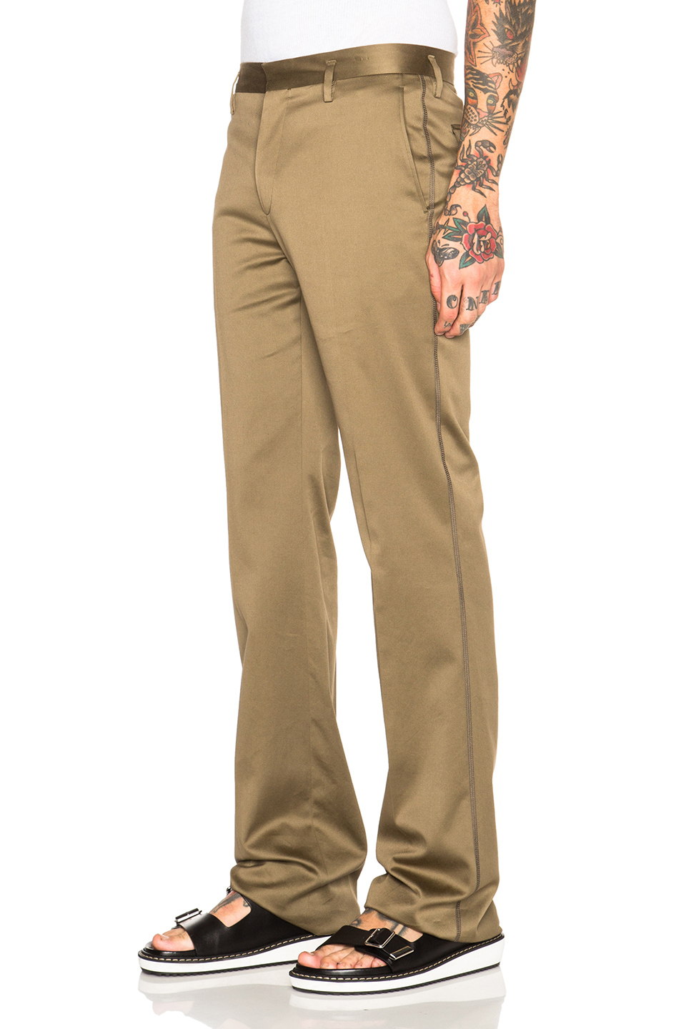 Marc jacobs Broken Twill Cotton Pants in Natural | Lyst