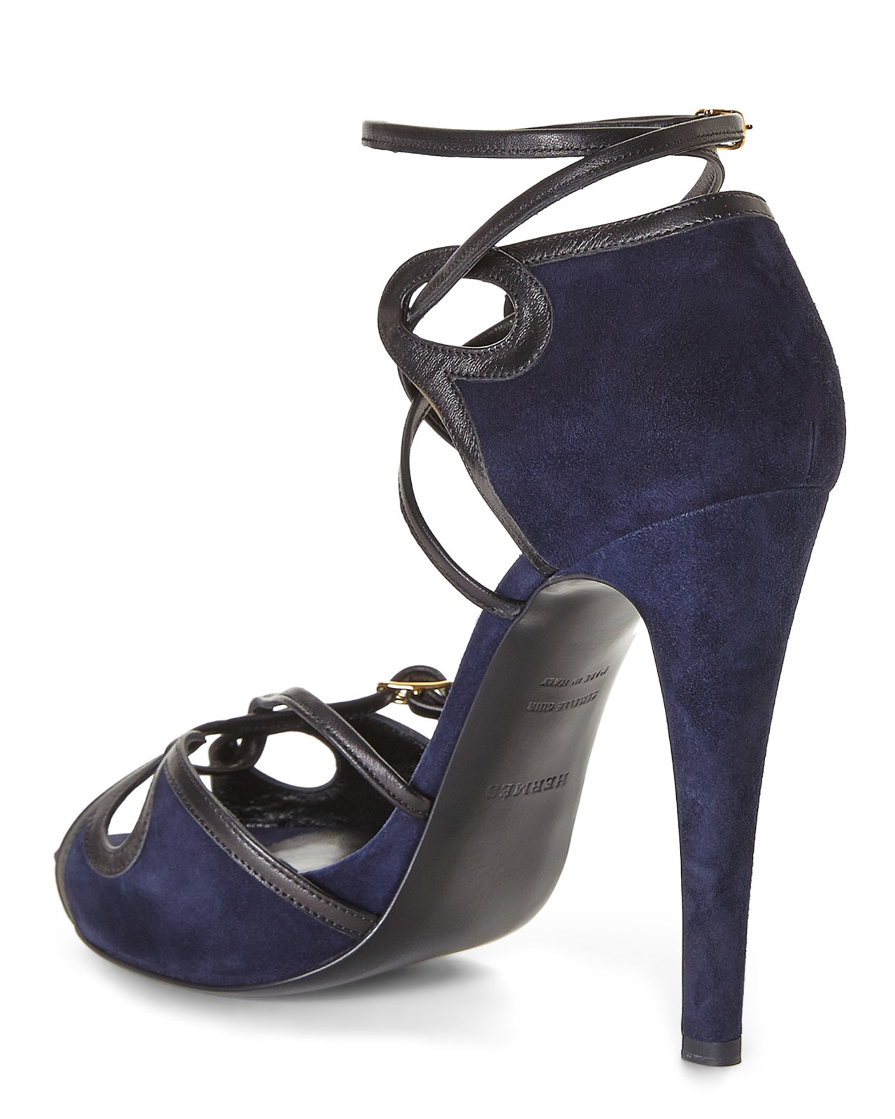 0f800c45231d Lyst - Hermès HermãˆS Strappy Platform Sandals in Blue