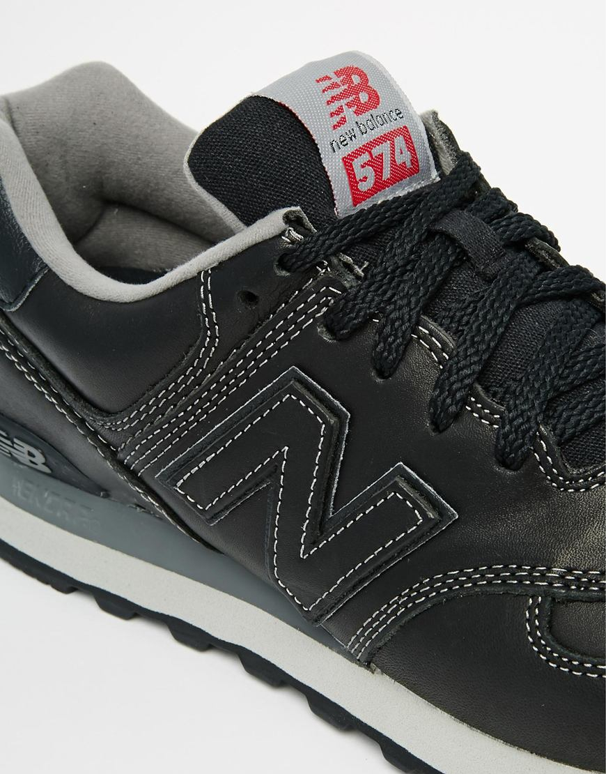 buy online 96834 876b3 ... italy lyst new balance 574 lux leather sneakers in black for men 097ff  8ee28