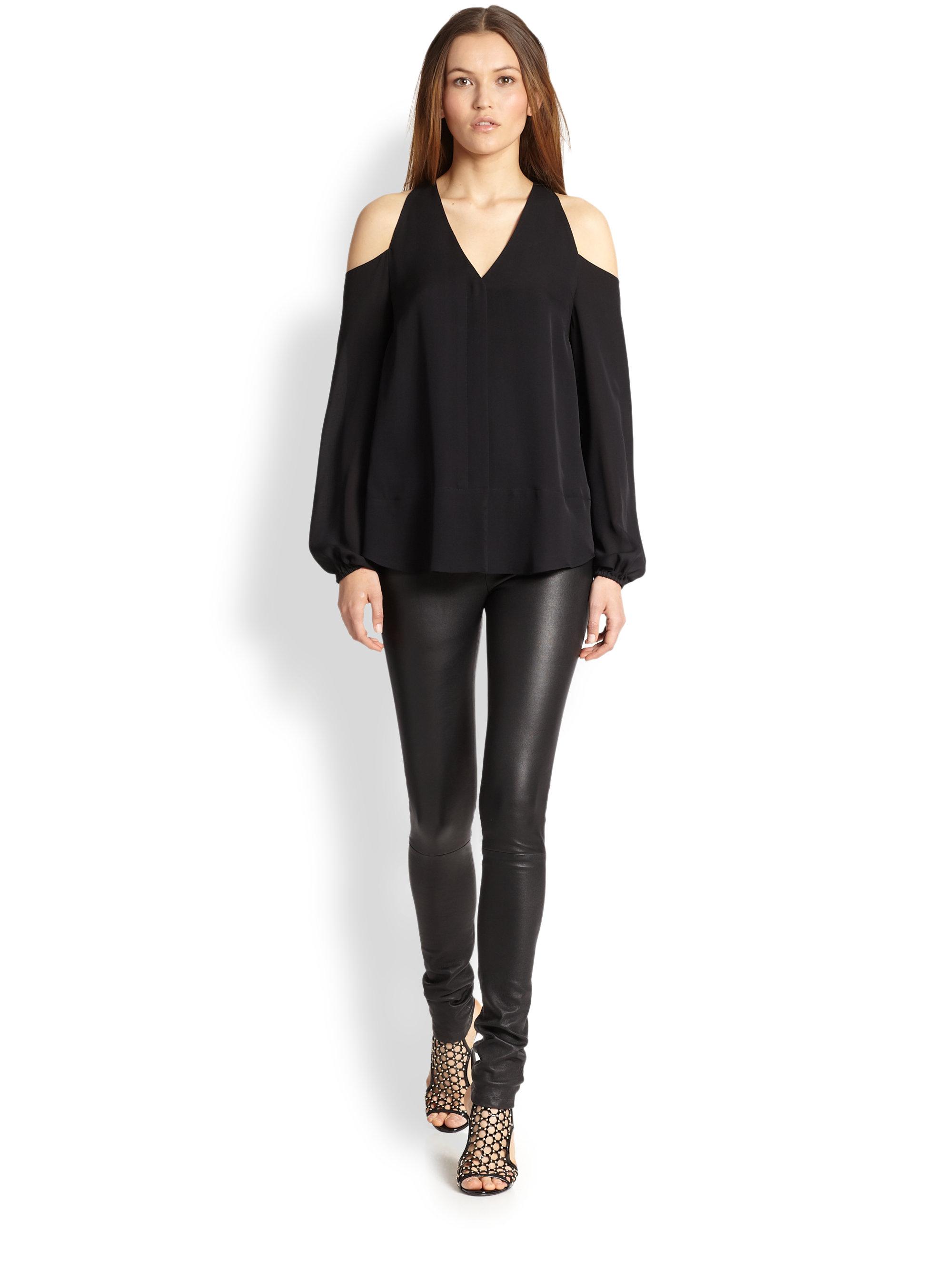 dab8bdf1e08 Tamara Mellon Silk Cold-Shoulder Blouse in Black - Lyst