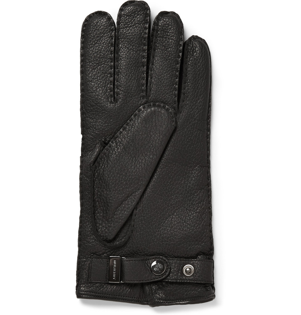 Black leather gloves lined with cashmere - Gallery