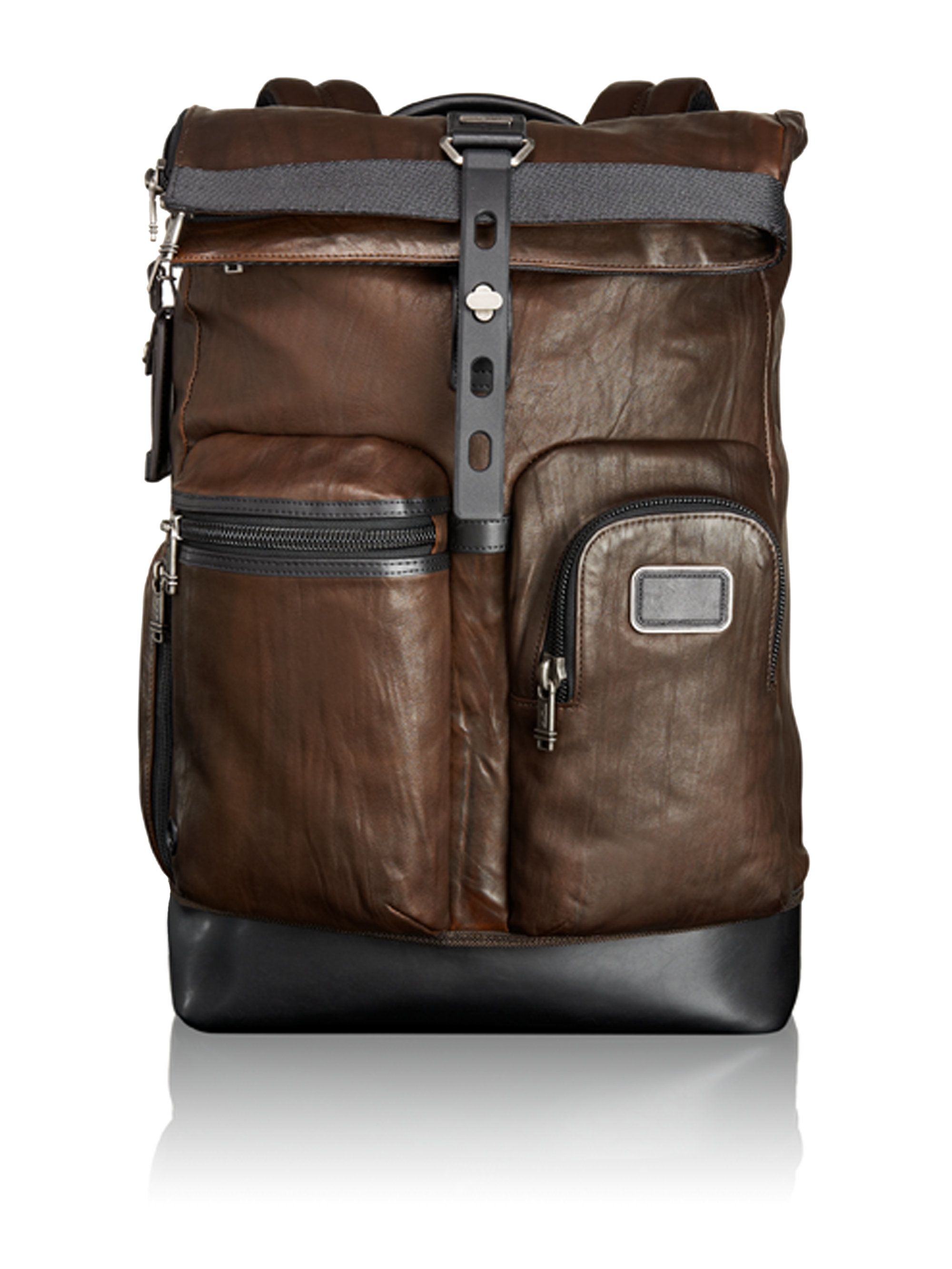 Tumi Alpha Bravo Luke Roll Top Leather Backpack In Brown