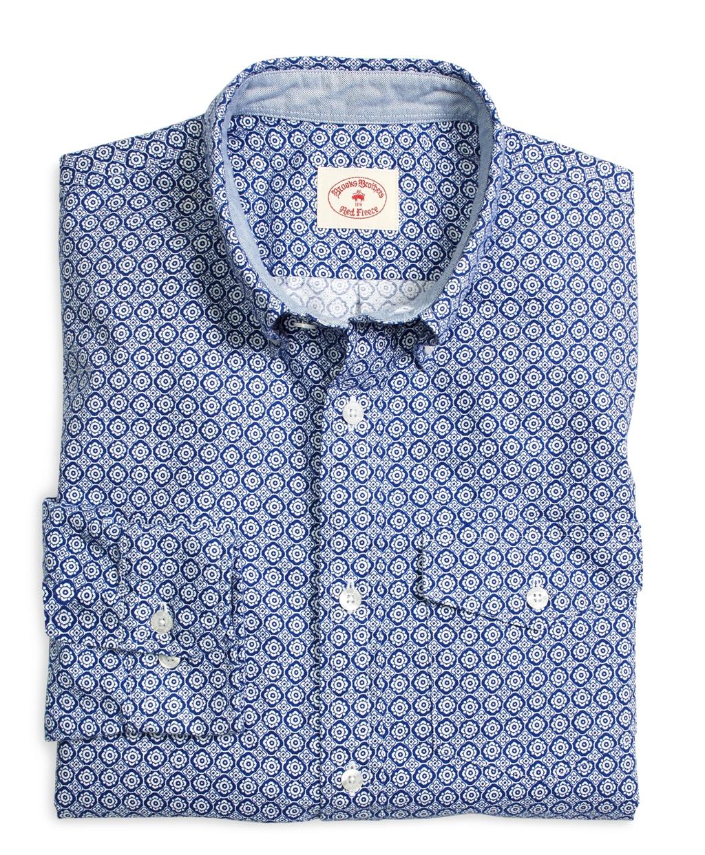 Brooks brothers supima cotton oxford foulard sport shirt for Supima cotton dress shirts