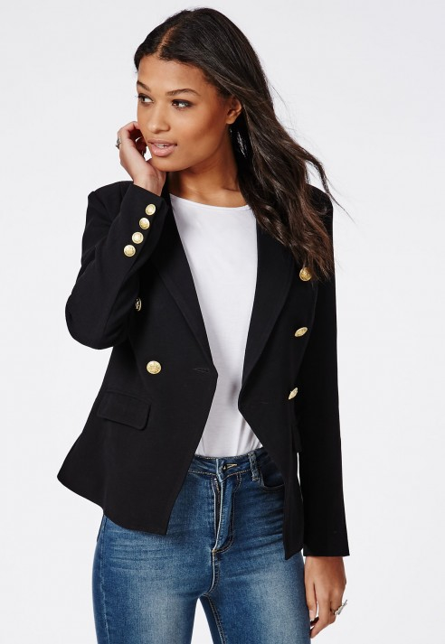 Missguided Woven Gold Button Tailored Blazer Black In