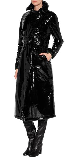 Lyst Wanda Nylon Faux Patent Trench Coat In Black