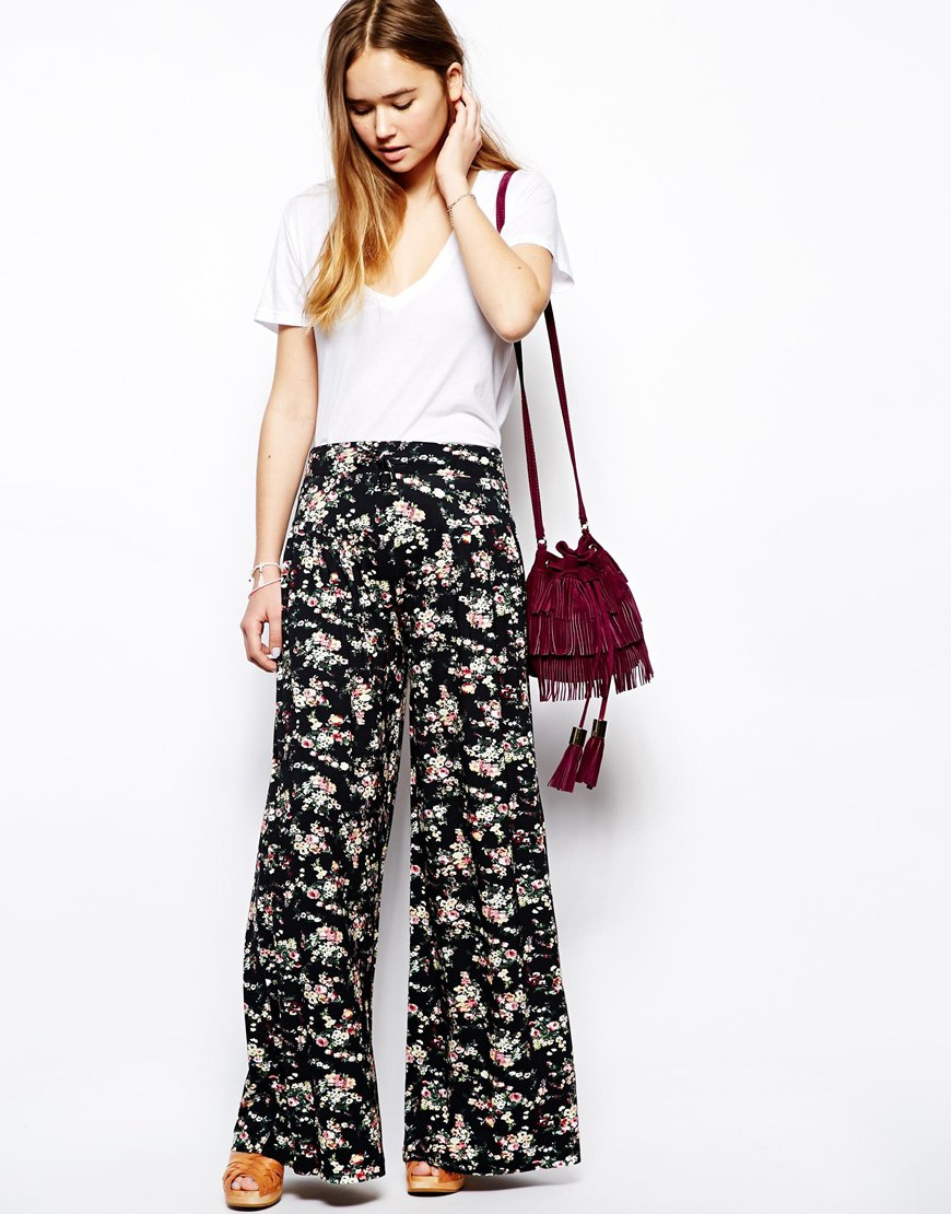 Asos Wide Leg Trousers In Floral Print | Lyst